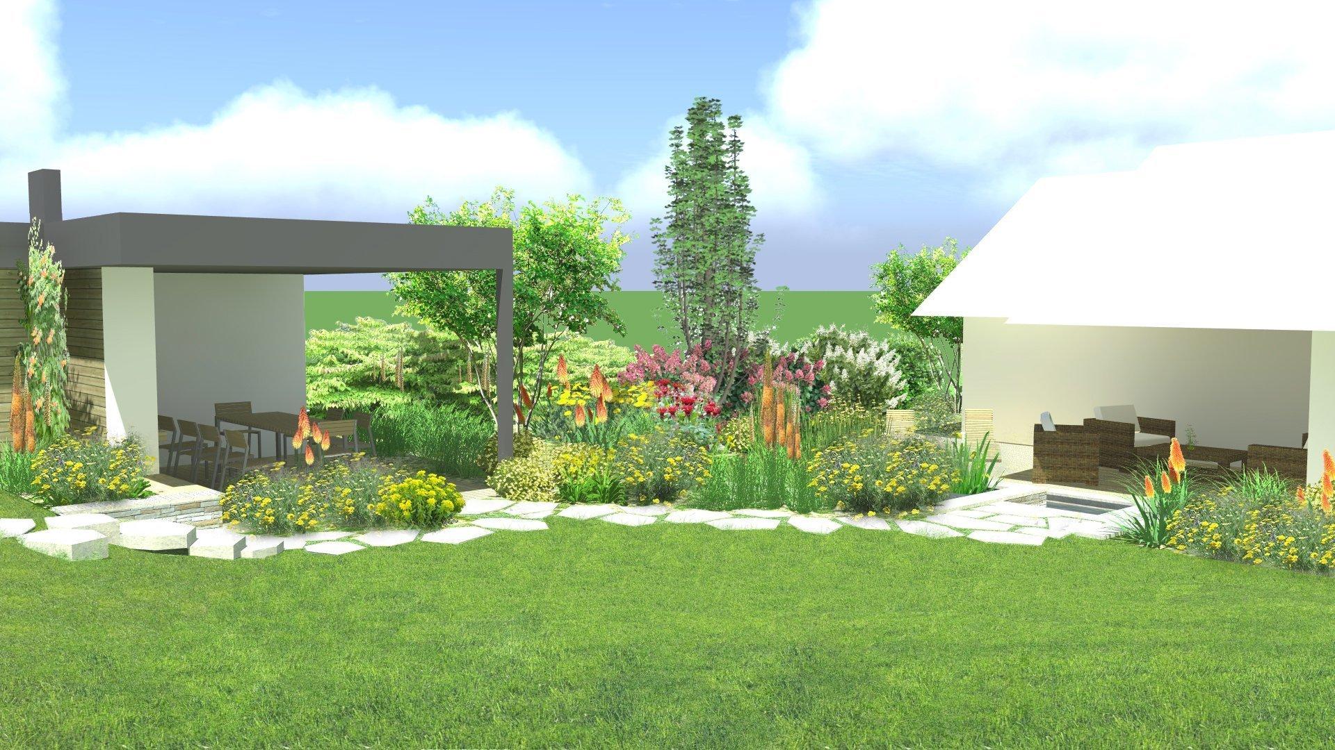 zpětný pohled ze zahrady k pergole a domu