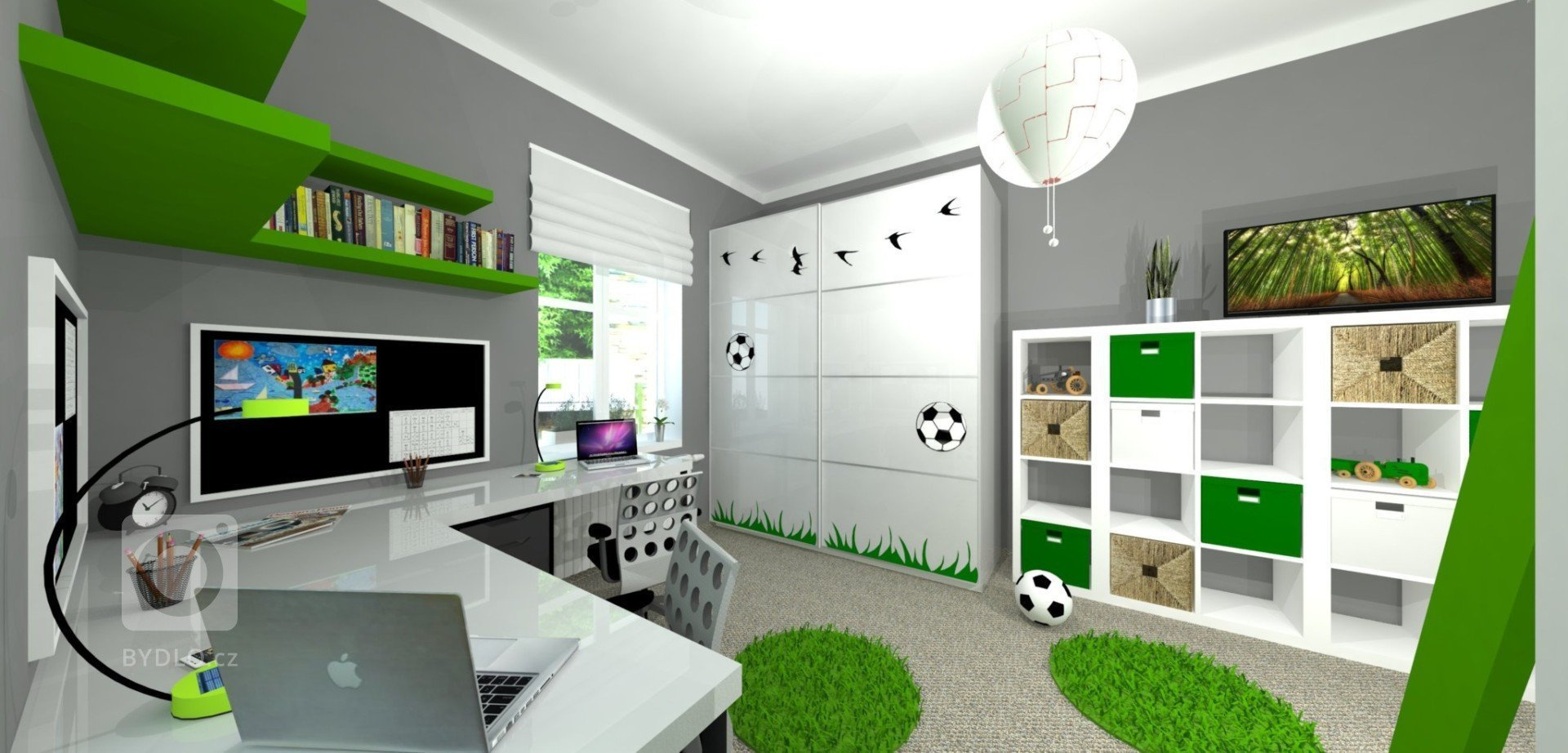"""""""Útočiště pro dva malé fotbalisty.""""  Decentní šedá s elegantní a univerzální bílou, doplněná o zelené prvky symbolizující barvu trávy.  &bdquo…"""