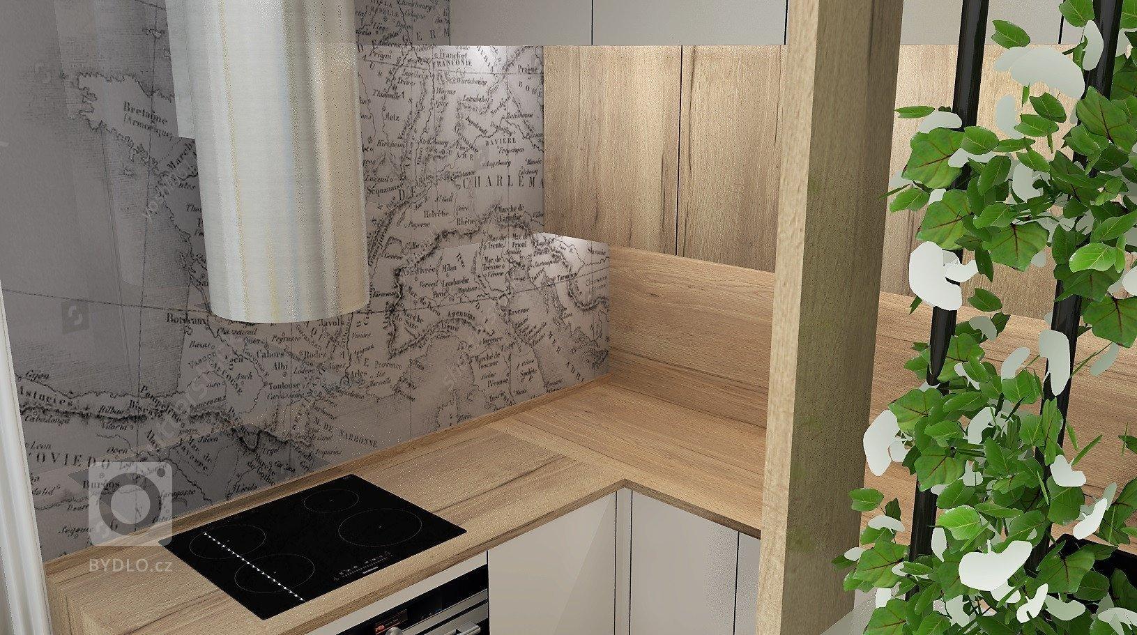 Návrh nové kuchyně pro mladou dvojici, která ráda cestuje a vyjíždí za poznáváním krásných míst z bytu v Podkrkonoší.
