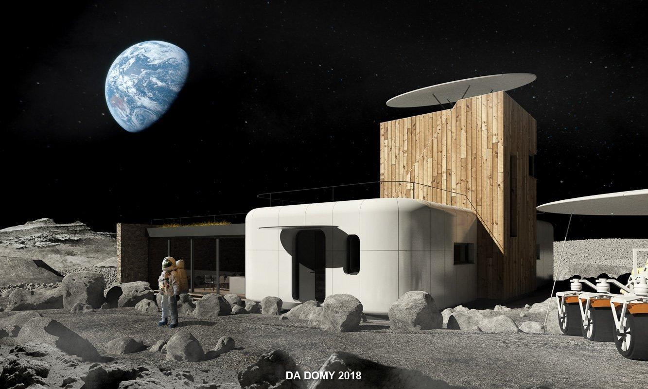 Dům surreálně umístěný na měsíci.