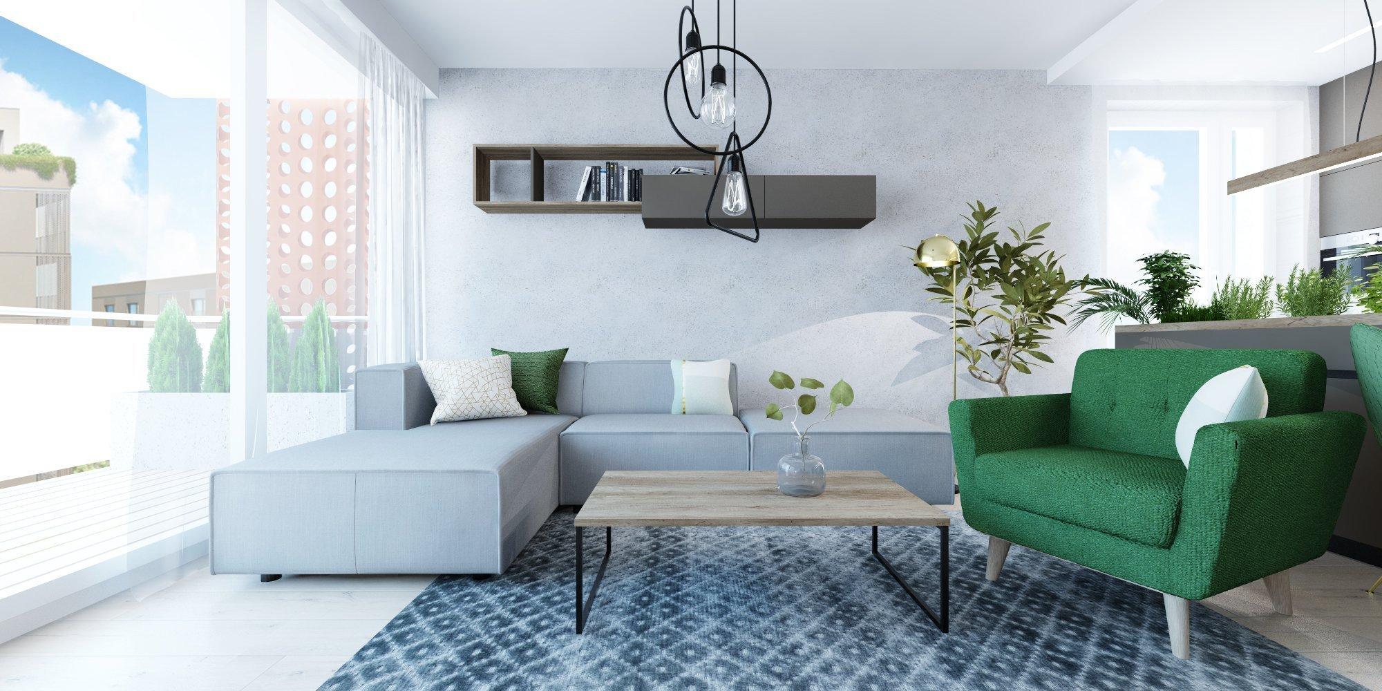 Interiér v zemitých farbách s akcentujúcou zelenou v projekte Rezidencie pri Mýte v Bratislave