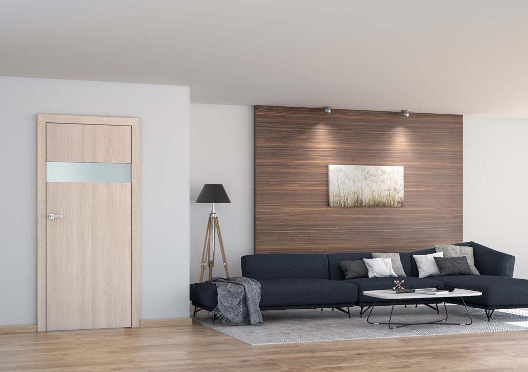 Obývací pokoj s dřevěnými prvky.