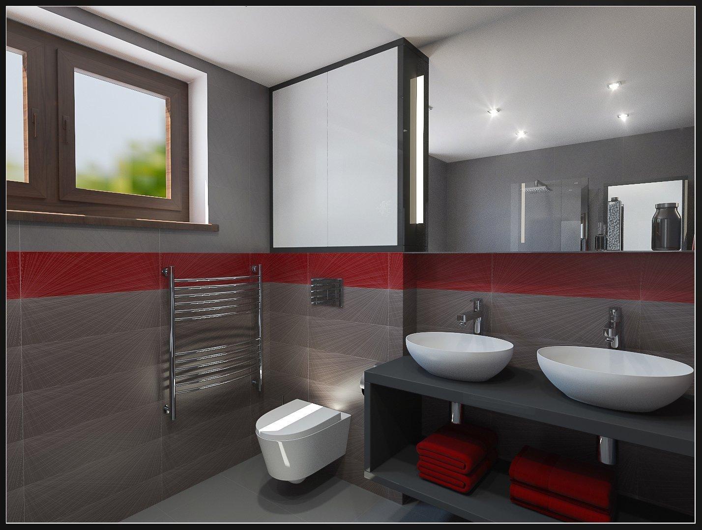 Koupelna je celá obložená šedou velkoformátovou dlažbou, která přispívá k elegantnímu vzhledu i ke snadnému udržování čistoty.