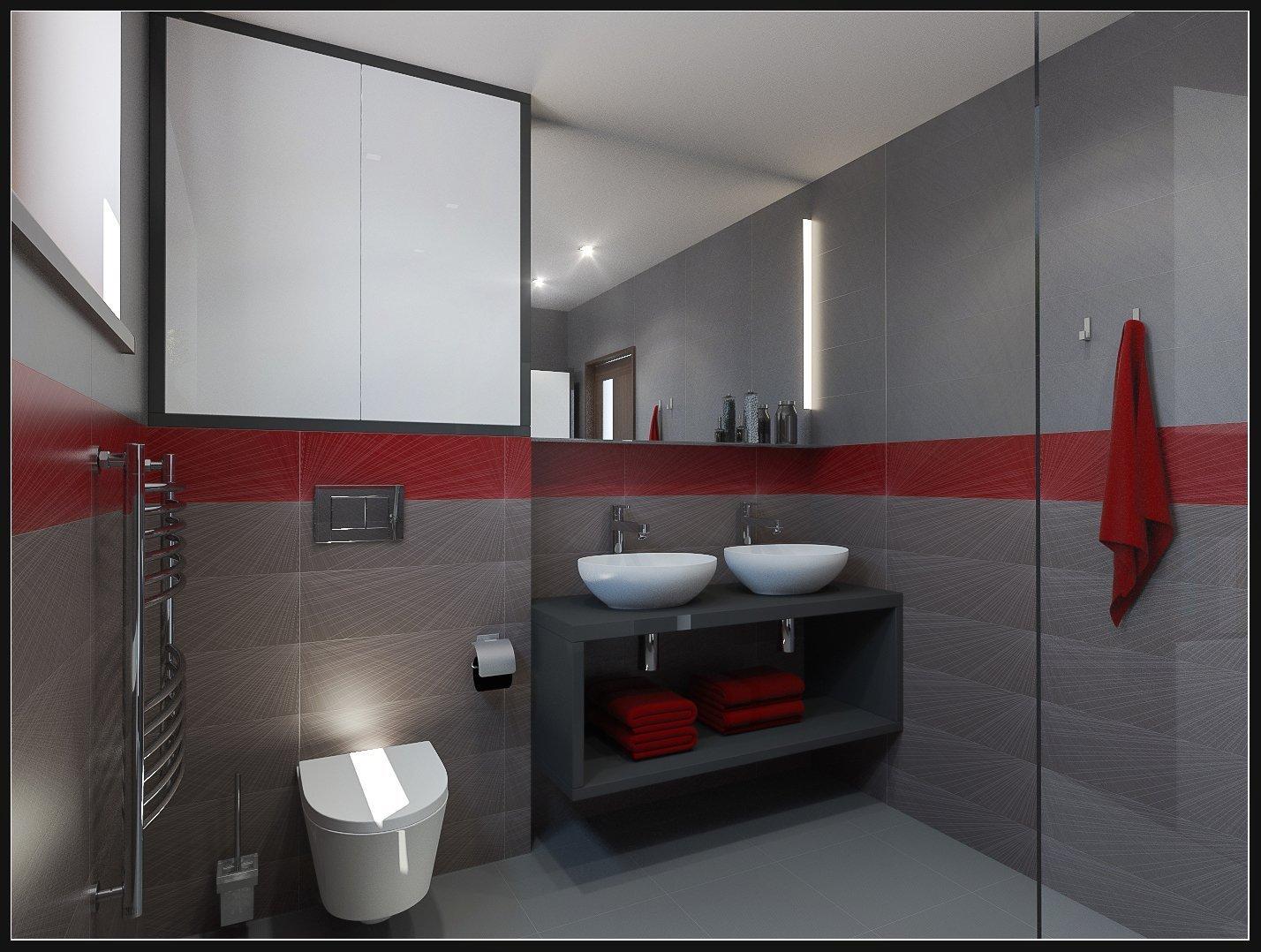 Velká zrcadlová stěna nad umyvadlem a praktické skříňky z materiálu lamino (LTD) v dekoru dřeva tmavý dub a bílá lesklá. Koupelnový nábytek je odolný, vysoce funkční a dokonale sladěný. Prostorná skříňka pod umyvadlem snadno ukryje všechny potřebné drobnosti.