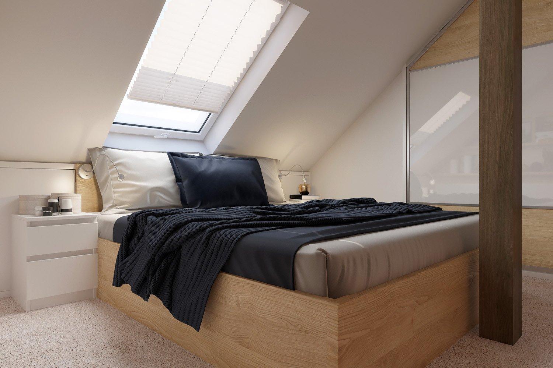 Dominantním prvkem celého prostoru je dvoulůžková postel se zvýšenou ložní plochou pro usnadněné vstávání a je vyrobena z materiálu lamino (LTD) v dekoru dřeva světlý buk.