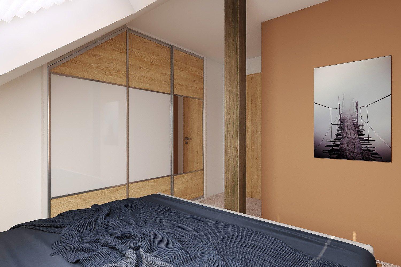 Šatní skříň je vyrobena na zakázku z materiálu lamino (LTD) v dekoru dřeva světlý buk a bílý lesk. Skříň obsahuje posuvné dveře s jedním zrcadlem umístěným na vnějším křídle. Některým nerozhodným tak odpadne neustále běhání mezi skříní a zrcadlem v koupelně či na chodbě. Vnitřní prostor má prakticky řešené vnitřní členění, jako jsou přihrádky, poličky a šatní tyče. Šatní tyč a pojezdy jsou z kovu.
