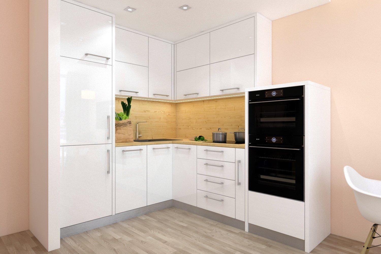 """Kuchyně je vyrobena z materiálu lamino (LTD) v dekoru dřeva bílý lesk. Disponuje různými otvíracími systémy, vestavěnými spotřebiči a je uspořádaná do """"L"""". Na malém prostoru a ve stylovém designu budete mít vše na dosah ruky."""