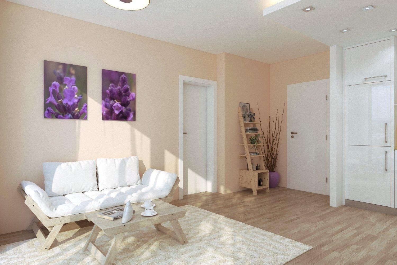 Obývací část s 2-místnou pohovkou v bílé barvě je ideálním místem pro odpočinek. Světlé barvy a správná kombinace atypického nábytku dávají prostoru pohodovou atmosféru.