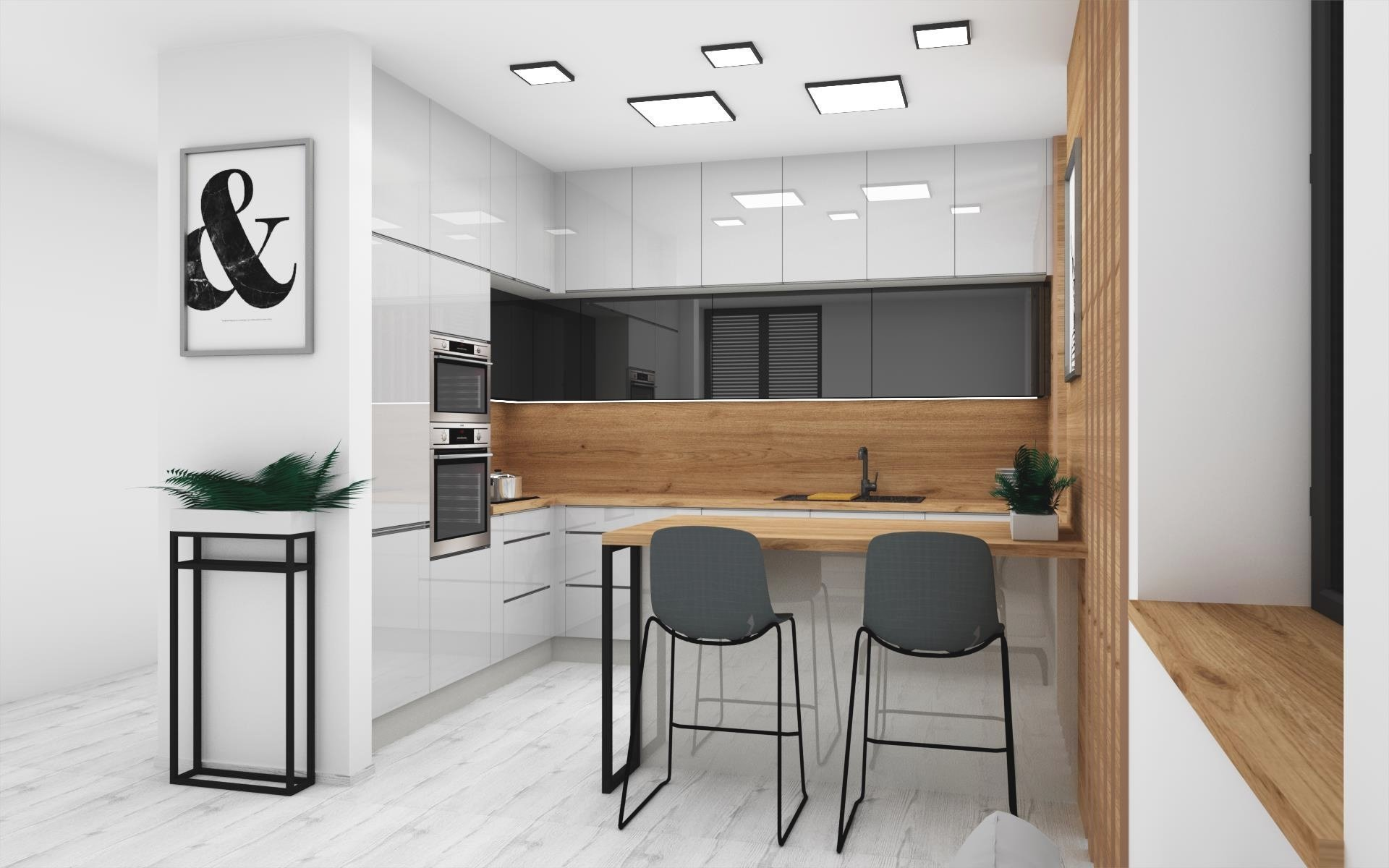 Ukázka zpracované vizualizace v moderním barevném provedení šedá/antracit/dub zlatý doplněná o barové židle HANÁK – Megan.