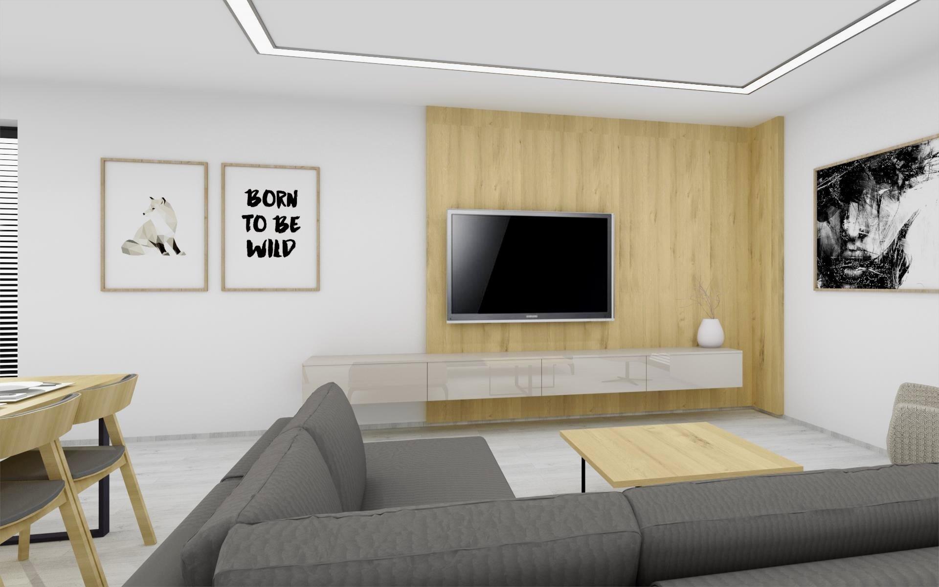 Ukázka zpracované vizualizace interiéru vybaveného dle INTERIOR CONCEPTU HANÁK. Kuchyňská linka ELITE sladěná s obývacím pokojem v kombinaci laku champagne a…