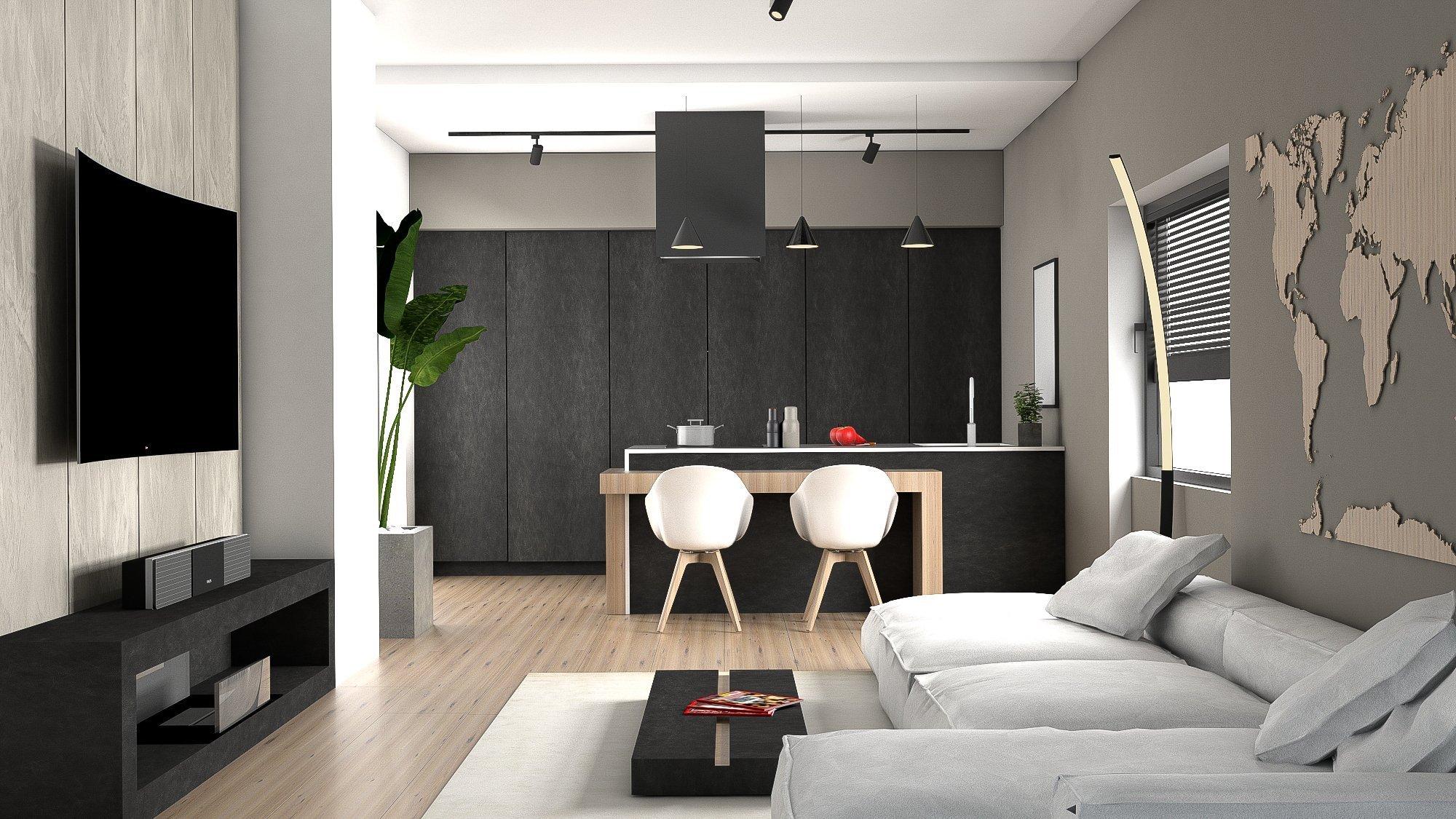 Ukázka naší práce designového návrhu kuchyňské linky s obývací částí. Dominantou prostoru je designová, minimalistická kuchyň. Vysoké zásuvné skříně nejen šetří místo, ale jsou i hezkým designovým prvkem nadčasové kuchyně. Vybavení je s veškerým komfortem. Za zásuvnými dveřmi, za kterými můžete nechat vše zmizet se nachází kuchyňské spotřebiče, úložné prostory pro potraviny, pracovní plocha, příprava pro volně stojící kávovar a mnoho prostoru se zásuvkami pro vybavení kuchyně. Při otevření dveří se otevře pohled na to, co je za nimi skryto: dokonale zorganizovaná kuchyně, kde vše, má své místo. Součástí pracovní desky je dřez z Corianu. Ponechali jsme zde dostatek pracovní plochy a své místo má i indukční deska. Barový stoleček, který je také součástí kuchyňského ostrůvku jsme navrhli ve vhodné výšce pro umístění klasických, pohodlných jídelních židlí.
