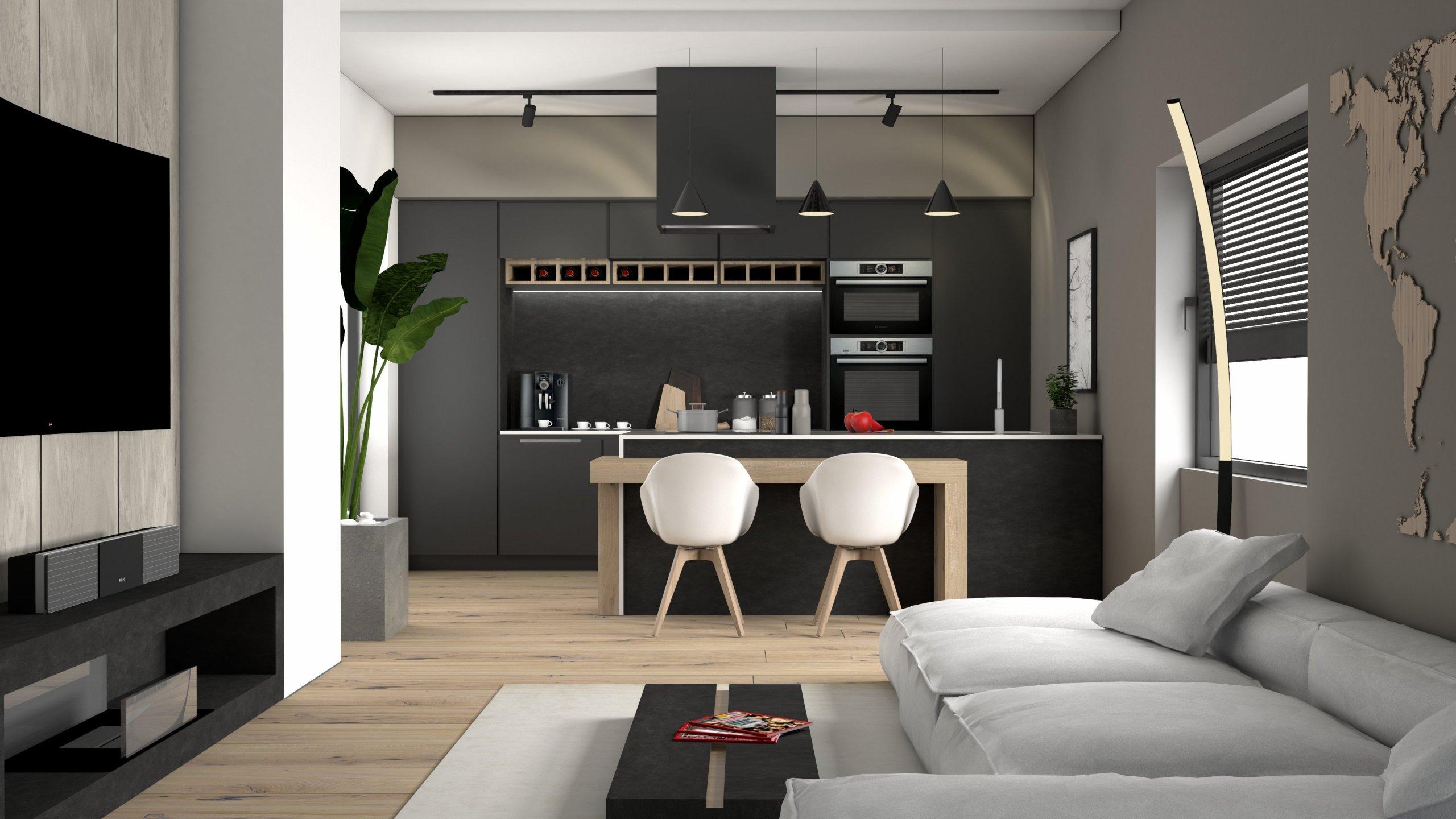 Ukázka naší práce designového návrhu kuchyňské linky s obývací částí. Dominantou prostoru je designová, minimalistická kuchyň. Vysoké zásuvné skříně nejen…