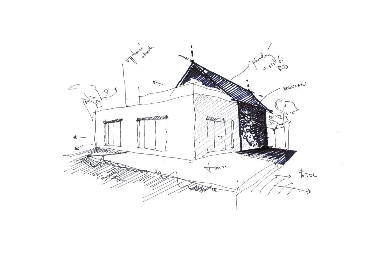 Dominantné schodisko je navrhnuté ako votknuté a prepája jednotlivé časti rodinného domu. Na konci chodby je situované presklenie, ktoré smeruje k existujúcemu potoku. Pôsobí temne, no zároveň dodáva presvetlenie do existujúcej chodby. Kúpeľňa, a detská izba sa nachádza v pôvodnom objekte. V navrhnutej časti je situovaná aj hosťovská izba a pohotovostné wc zo záhrady. Na podkroví je situovaná iba nočná zóna, spálňa, so vstupom na exteriérovú terasu. Nad vsadenou prístavbou je navrhnutá vegetačná strecha, ktorá príjemne zapadla do krásnej prírody.  Pôvodný objekt bol očistený od neskorších prístavieb (humno), pôvodné murivo bolo zateplené. Najväčšou transparentnou plochou sú posuvné sklenené dvere, ktoré otvárajú prízemie do záhrady a rozširujú obytný priestor o letnú terasu, zároveň však ponúka nádherné výhľady do exteriéru.