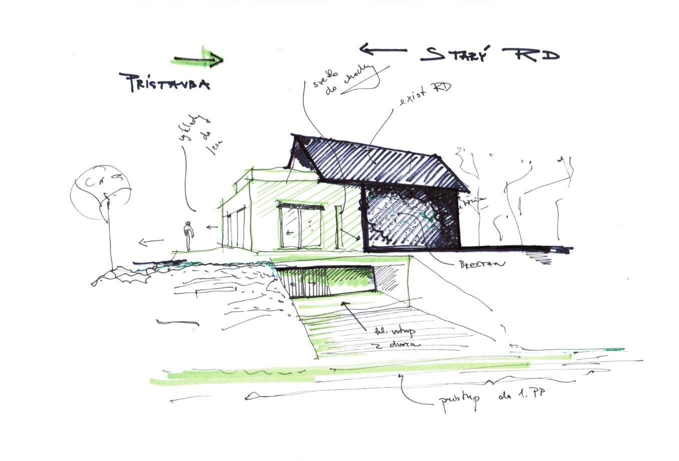 Letná terasa je situovaná nad pivničným priestorom. V 1. PP je navrhnutá vináreň so skladmi sudov, práčovňou a technickou miestnosťou. Na základe klientom naznačených dispozičných väzieb a prioritných exteriérových výhľadov a priehľadov vznikol koncept kvádrovitej prízemnej prístavby, ktorá je vsadená do už existujúceho starého domu, aj s využiteľným podkrovím. V minulosti podkrovie starého bytu slúžilo len ako skladovacie priestory, no dnes je  dominantnou nočnou zónou s krásnou terasou a výhľadom na les.