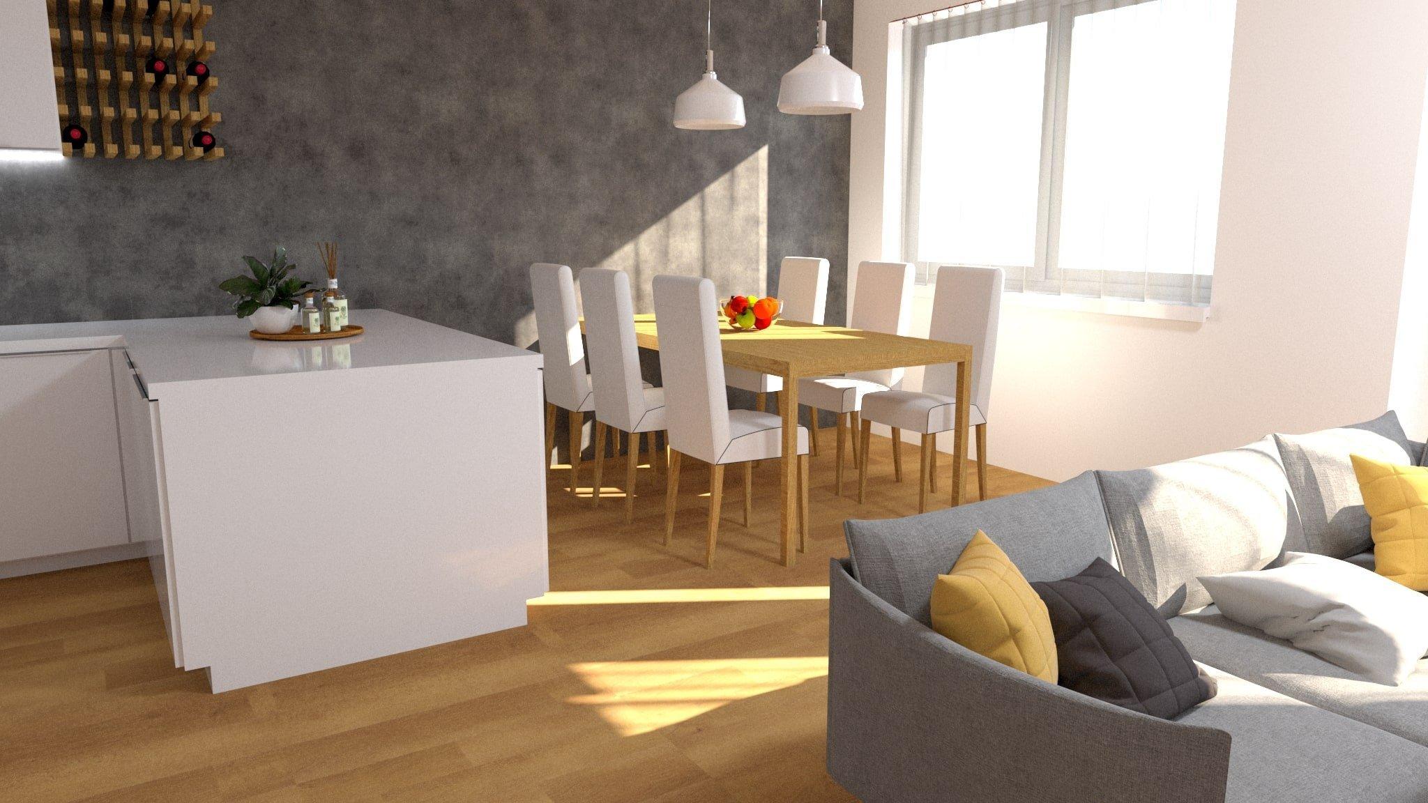Vizualizace interiéru pro mladý pár.  V tomto ineriéru jsme voliliteplý odstíndřeva na podlaze v kombinaci betonové stěrky v tmavě šedém…
