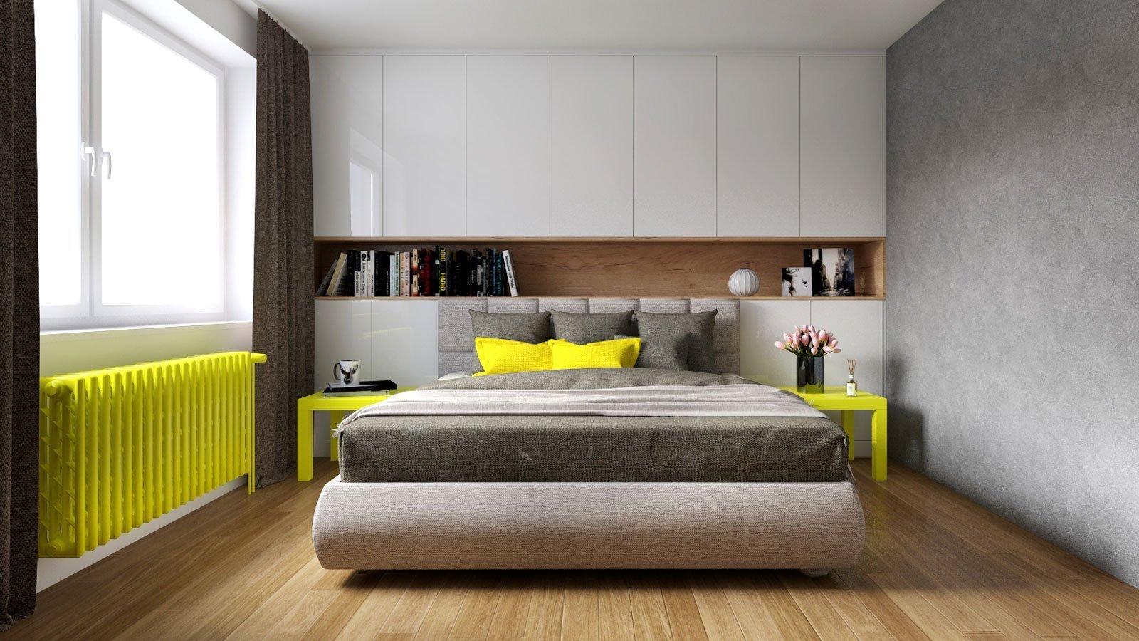 Návrh interiéru obývacího pokoje s ložnicí a chodbouve skandinávském stylu. Jídelní stůl v dřevěném dekoru je doplněn o židle značky TON v barevném…