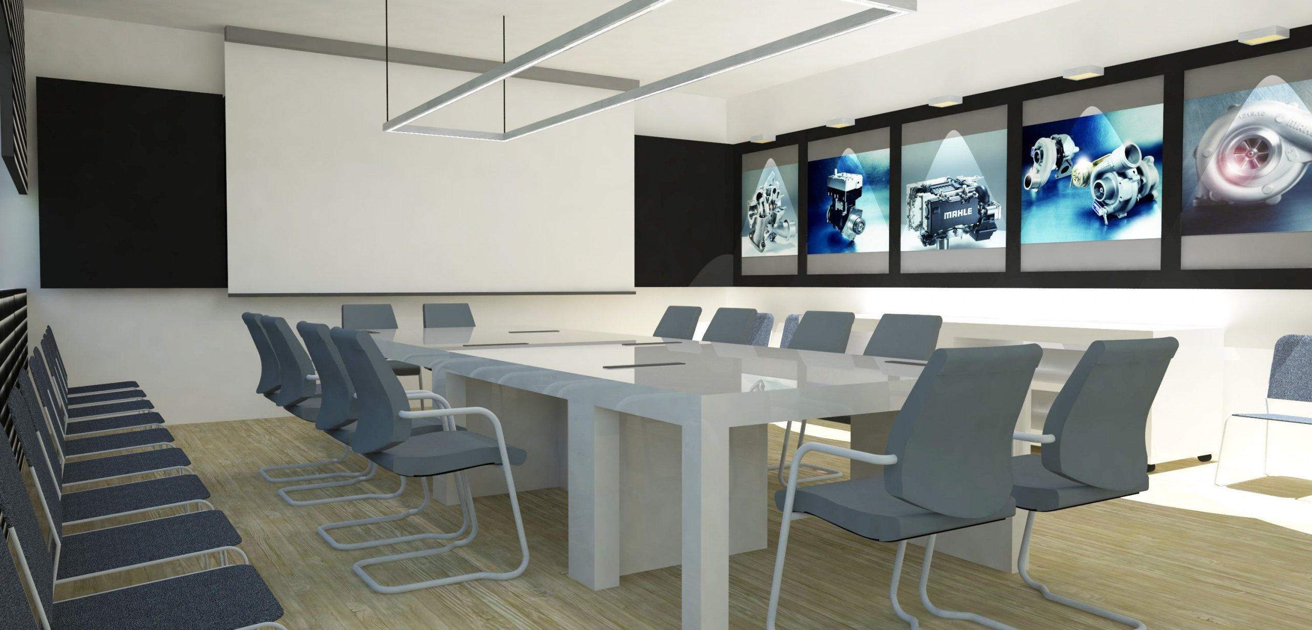 """""""Zasedací místnost, která se dá změnit v přednáškový interiér.""""  Světlé tóny, doplněné šedým akcentem, který je podpořen detaily z matného…"""