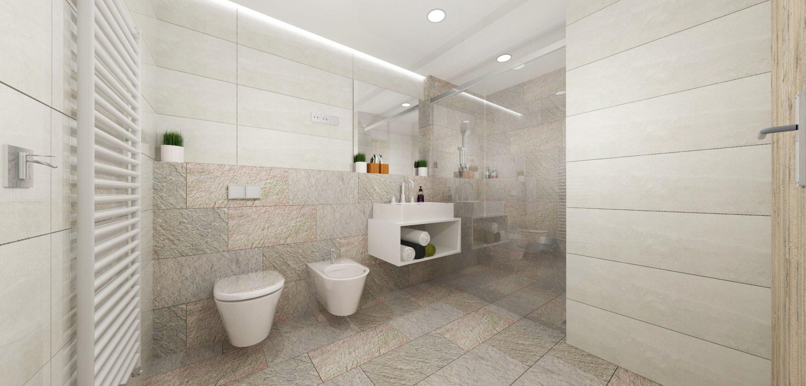 """""""Koupelna uzpůsobená pro vícegenerační život.""""  Chladné přírodní tóny kamene doplněné o světlý mramor s olivovým akcentem, který je podpořen…"""