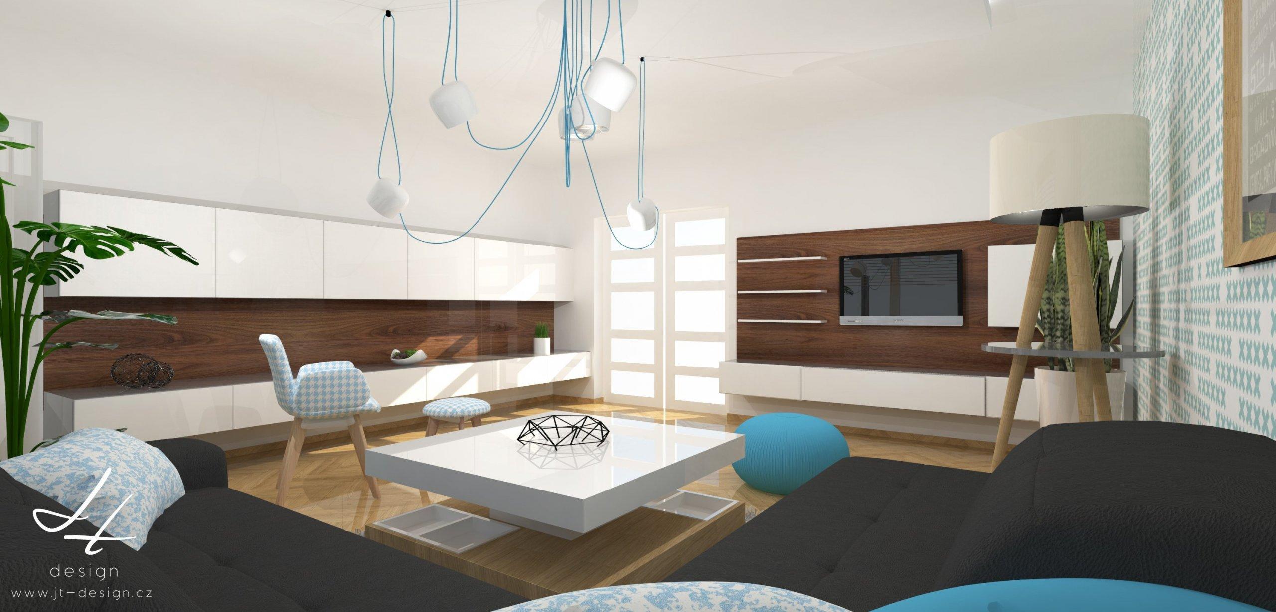 """""""V duchu mint a světle modré.""""  Retro prokládané moderními prvky křížků vkombinaci parket ve vysokém lesku, nábytku ze dřeva s&nbsp…"""