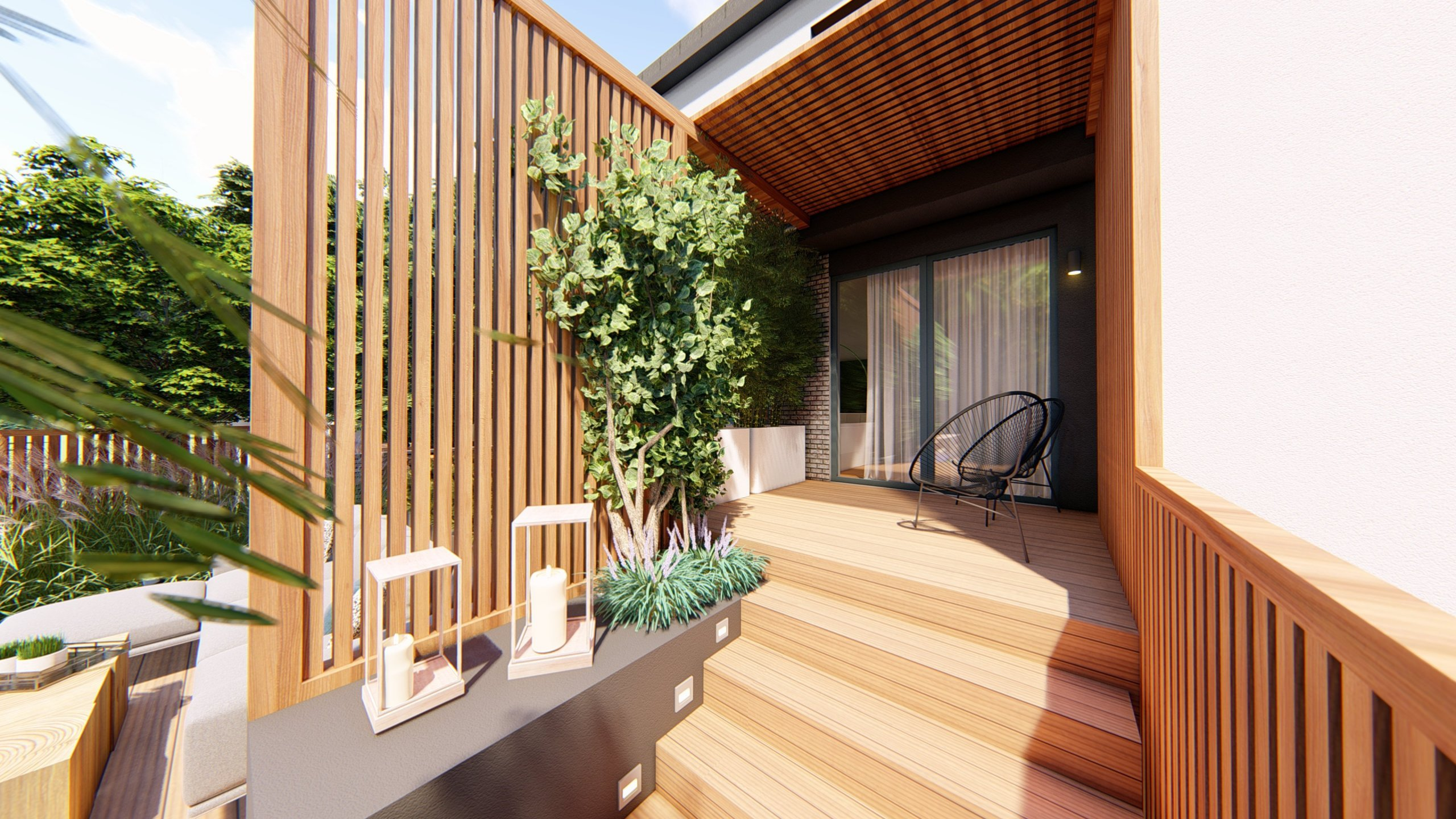 Malé zahrady paradoxně mohou být velmi prostorné :) Představujeme zahradní koncept na Praze 5