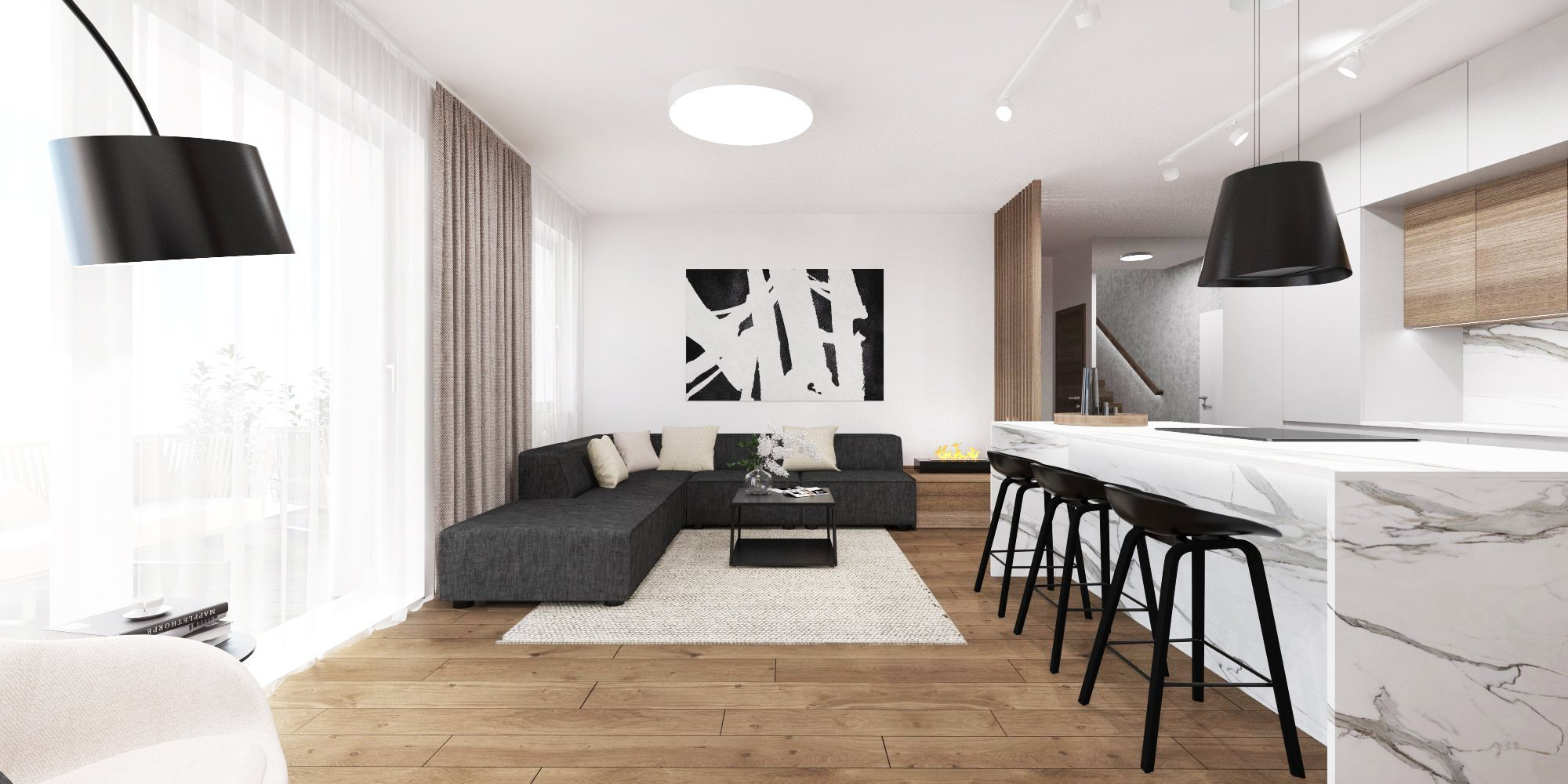 Minimalistický interiér s kontrastom dreva a mramoru.