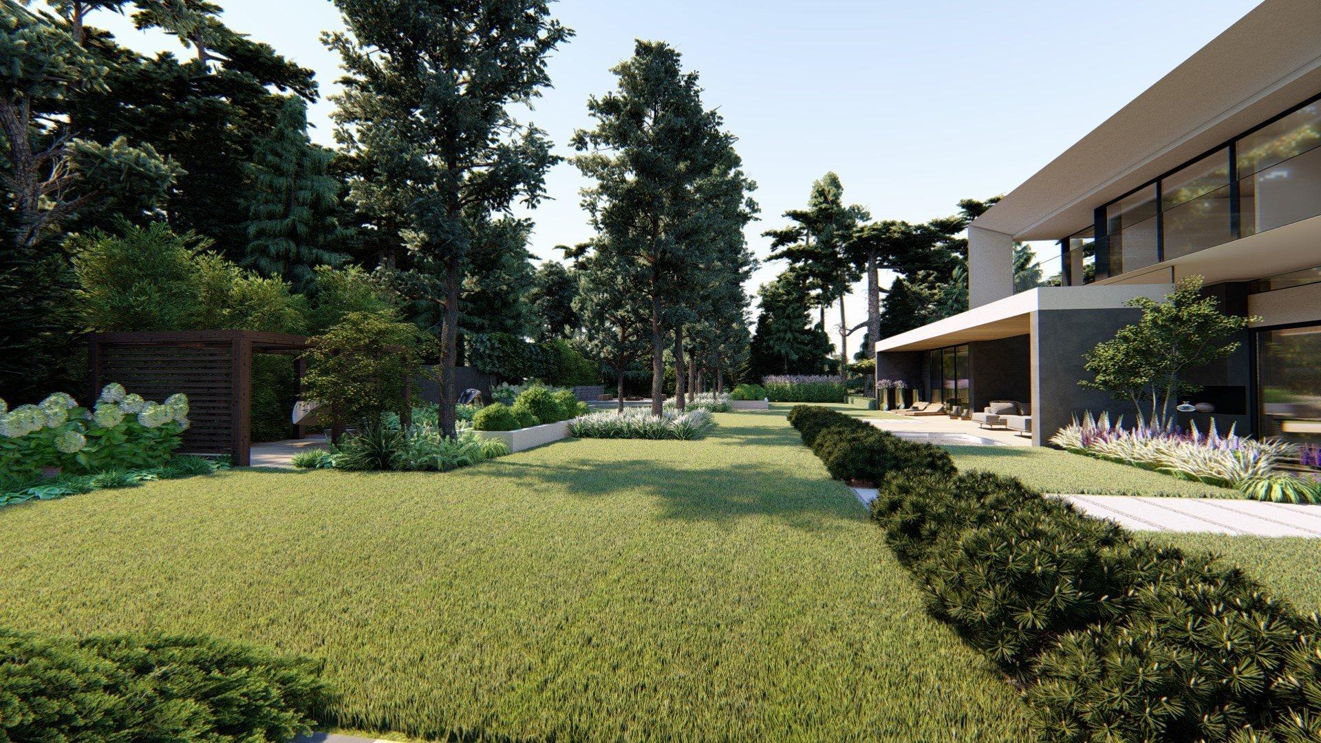 Zahradní koncept u moderní vily v blízkosti Poznani. Zahrada, která respektuje okolní přírodu a zapadá do okolního lesa :) K dispozici jsou prvky, jako je…