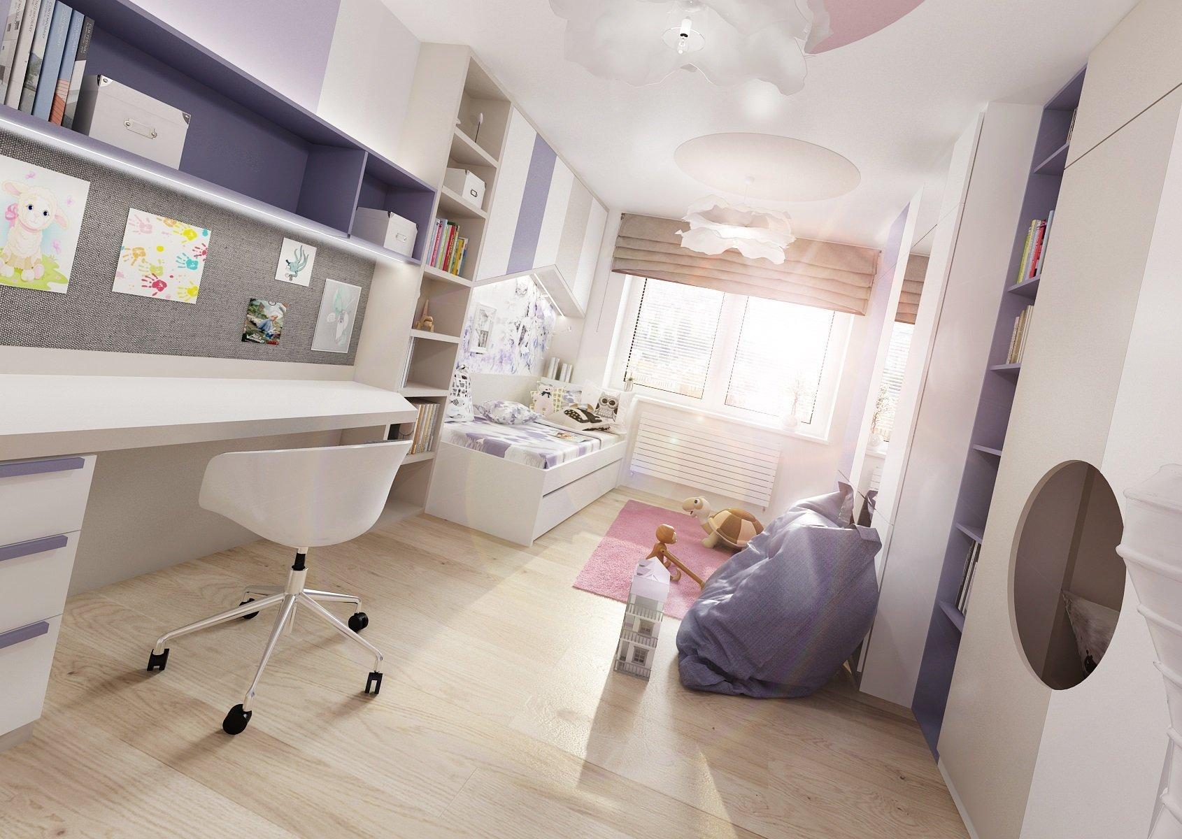 Dva pokoje pro dvě sestry vzájemně propojené průchodem skrz skříně. Pokoj starší dívky je vrůžové, antracitové a bílé barvy. Nad postelí je rámová…
