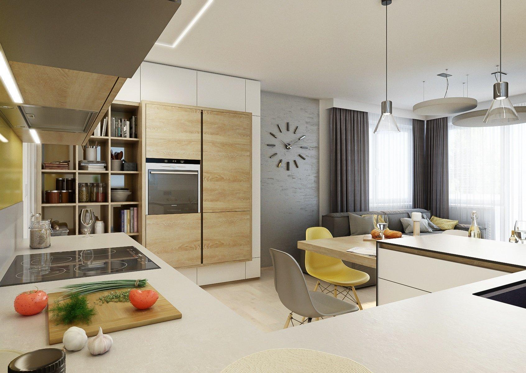 Do interiéru menšího obývacího pokoje s kuchyní jsme neumístili klasicky samostatný jídelní stůl, ale vytvořili prostor ke stolování kolem ostrůvku kuchyňské…
