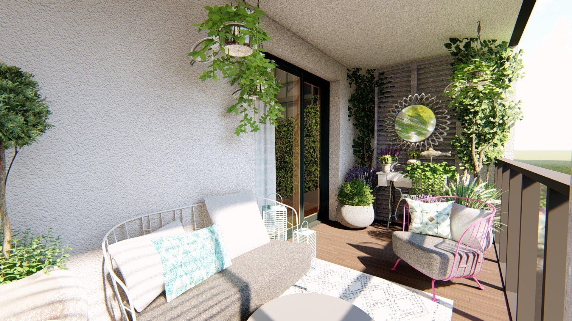Balkon je v současné době amatérsky upravený, nachází se na něm malé posezení, dekorace v podobě šicího stroje a několik květináčů a truhlíků se zelení.…