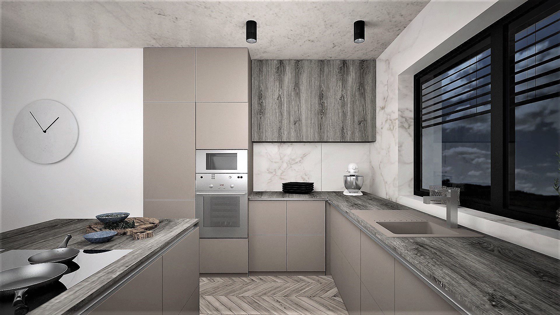 Interiér budoucího domu pro mladý sympatický pár, jehož zadáním bylo, aby interiér byl moderní s použitím odstínů šedé a taupe barvy. Případné barevné oživení…