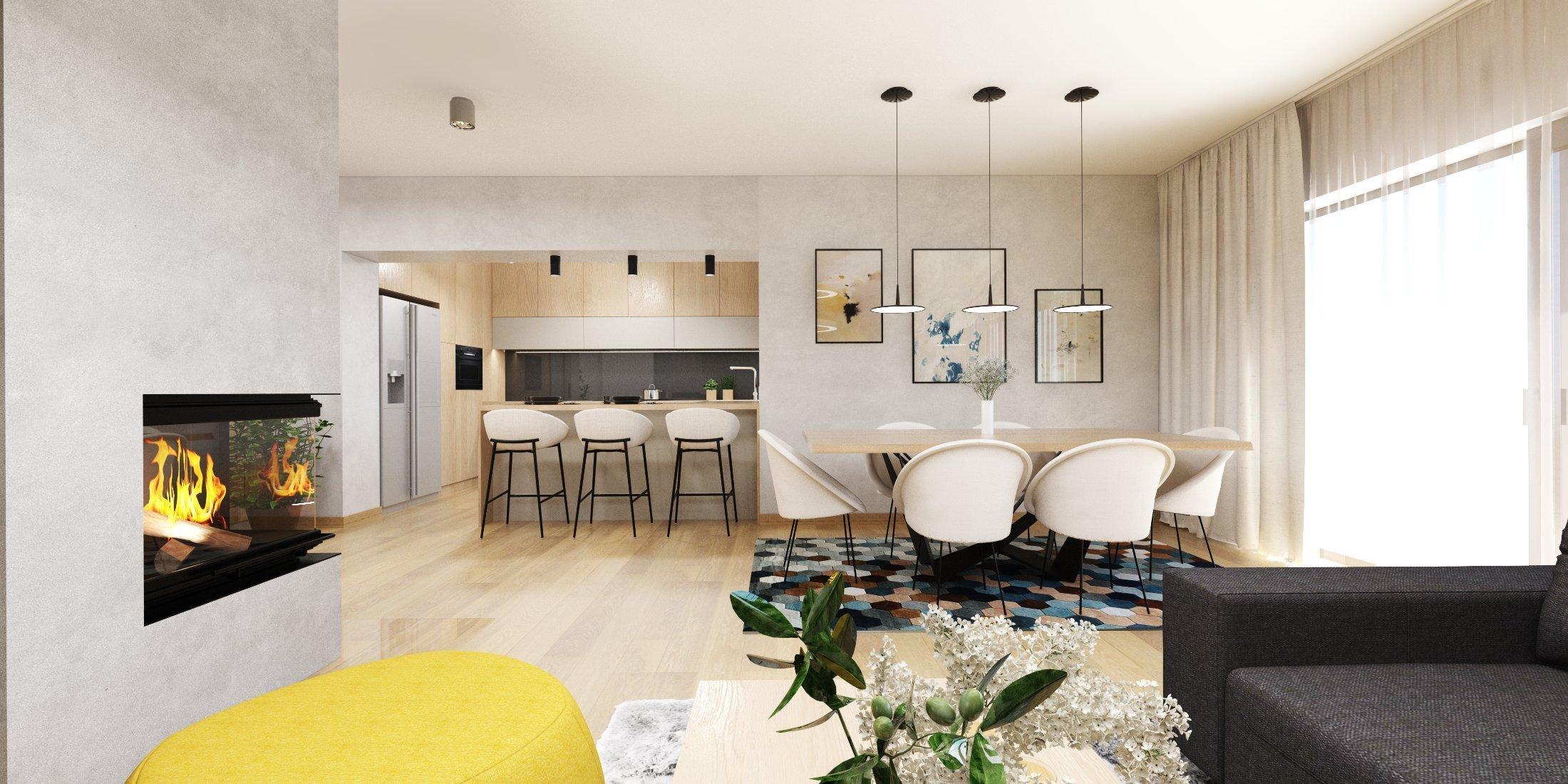 Rodinný dom sa nesie v duchu príjemného svetlého dreva kombinovaného s betónovou stierkou. Žlté a čierne akcenty v interiéri farebne kontrastujú