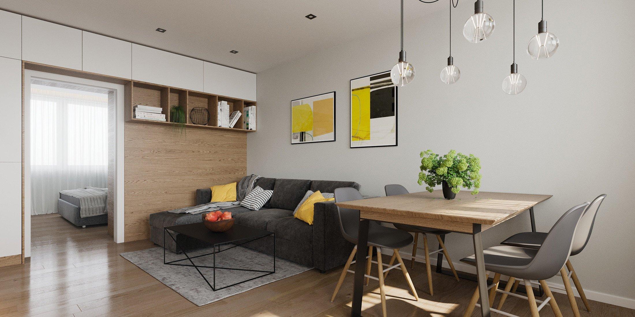 Nábytkové prvky vo výrazných materiáloch plynulo prechádzajú z priestoru kuchyne do obývačky, čím vytvárajú ucelený interiér dennej zóny bytu kde sme sa…