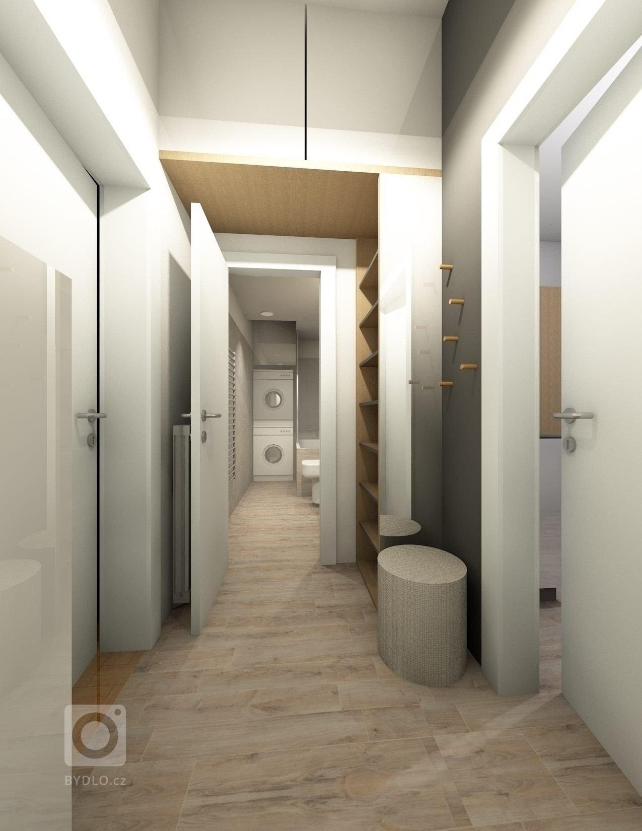 Návrh rekonstrukce koupelny, kcunyě s jídelnou a předsíně.