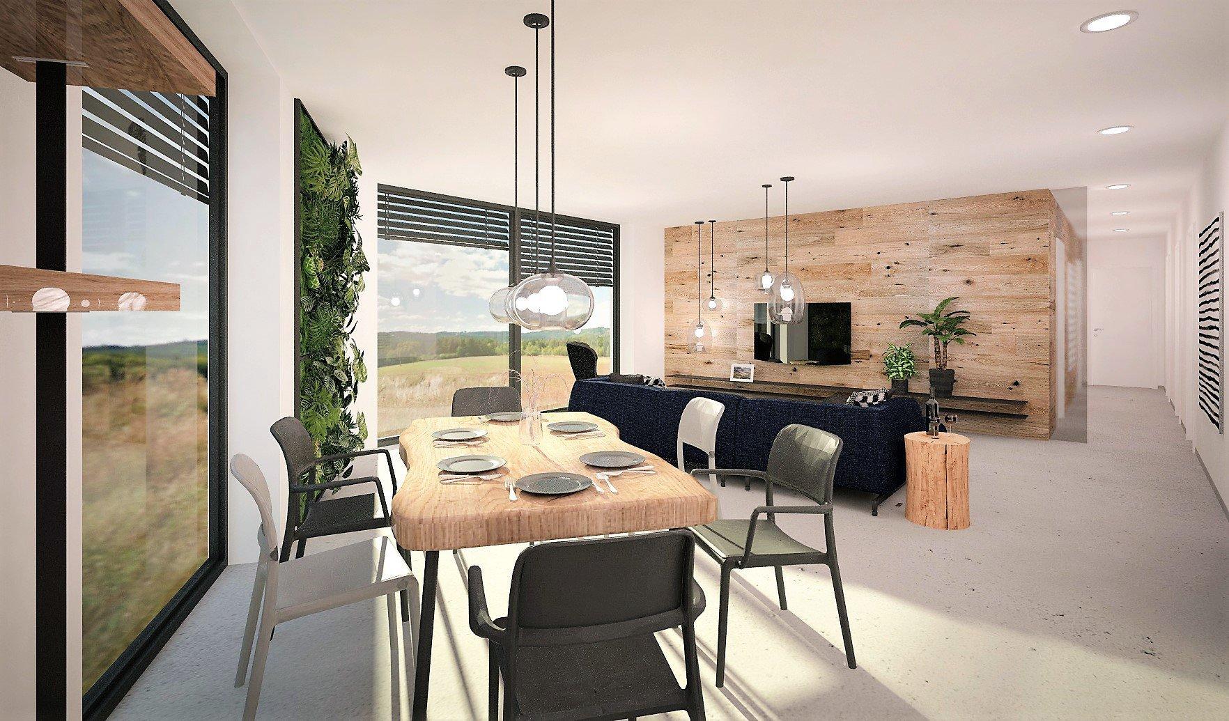 Inteirér je navržen v minimalistickém stylu, kde se skloubí tóny šedé a bílé. Na podlaze pro sjednocení a čistotu prostoru bude epoxidová stěrka, doplňkově…