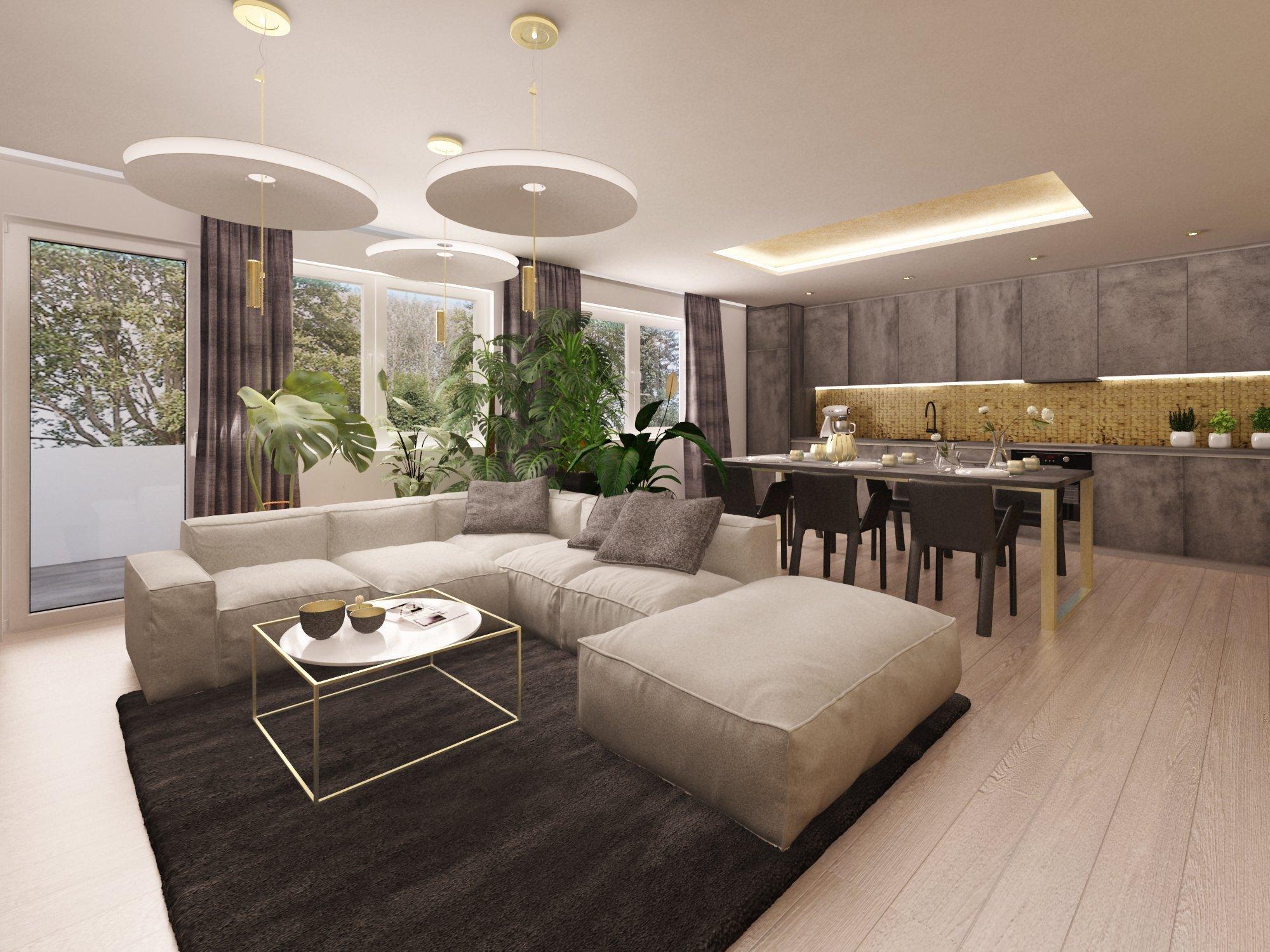 """Návrh prostorného obývacího pokoje a kuchyně, kde se nám klient nebál dát vonou ruku a jeho zálibu v """"industriálu"""" a partnerčině zase v…"""