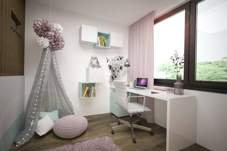 Stuedie interiéru dřevostavby v nehynoucí kombinaci - dřevodekor, beton, bílá. Pokojíčky pro mladé slečny jsou ovšem v jemnějších barevných tónech.