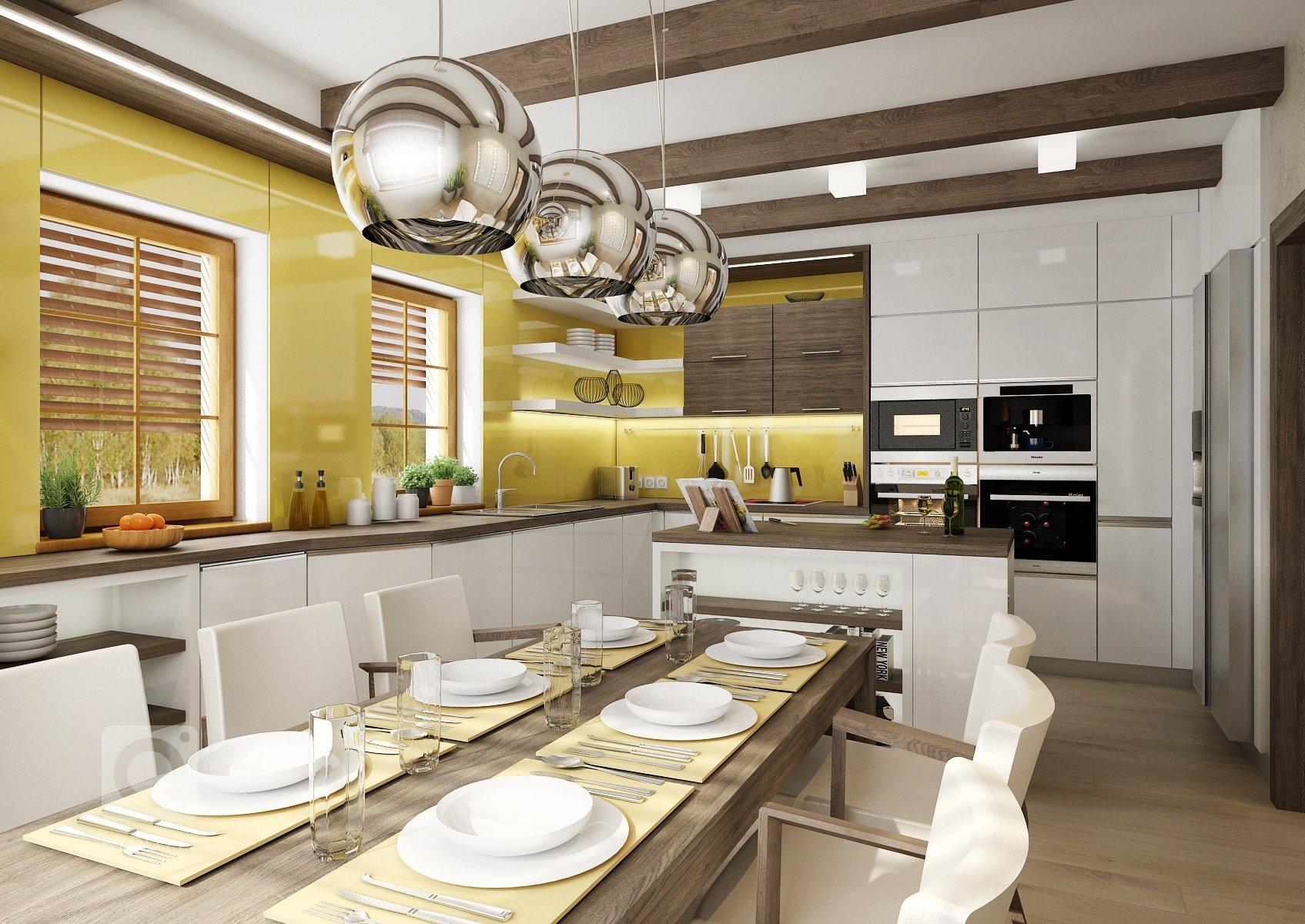 Přiznané trámy na stropě vtmavě mořeném dřevodekoru, který se opakuje i na nábytku v kuchyni. Většina dvířek kuchyně je vbílém lesku. Obklad za…