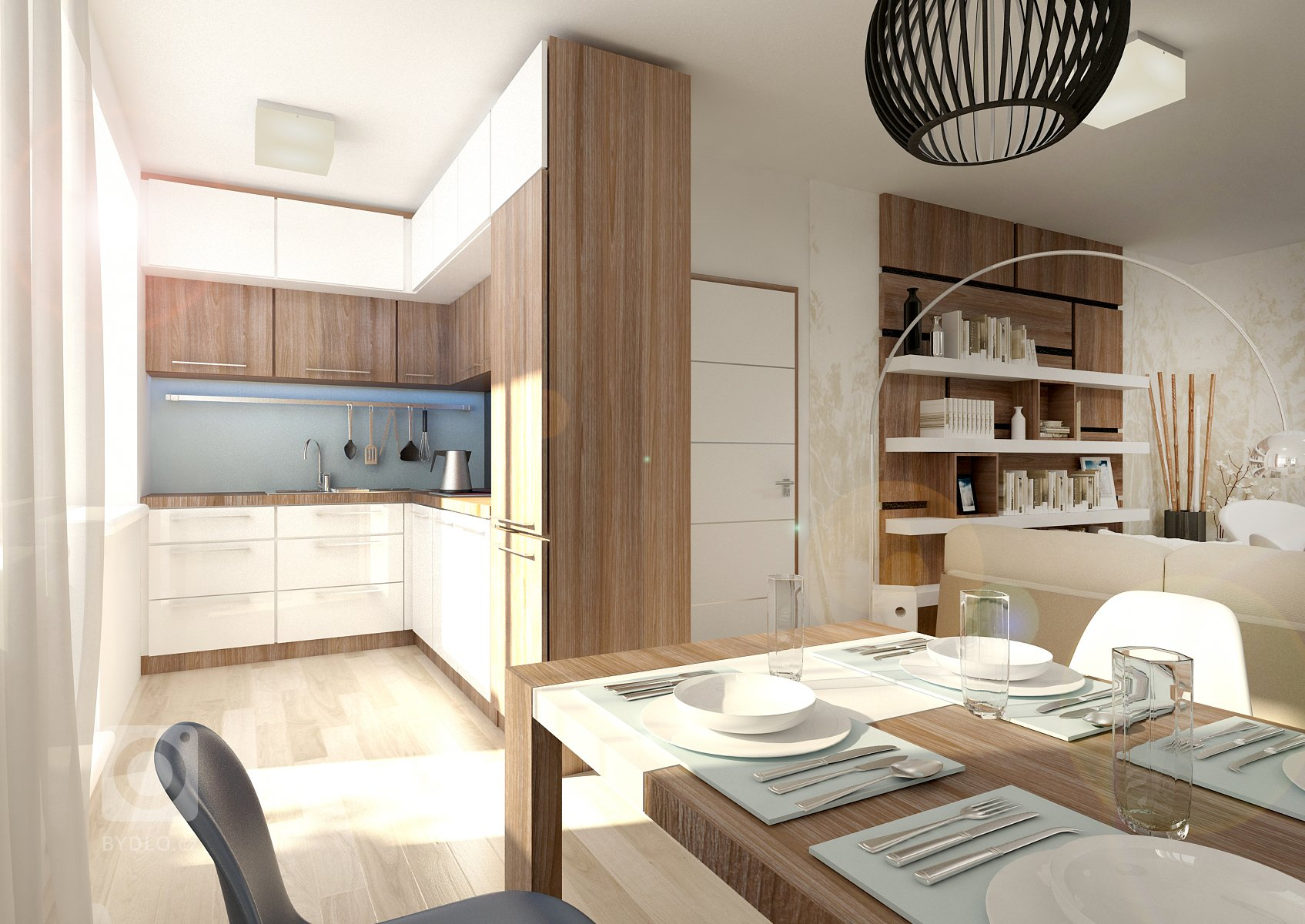 Komplet návrh bytu 2+kk . Vinteriéru se střídá světlý dřevodekor na vinylové podlaze stmavším na nábytku. Dominantou obývacího pokoje jsou výrazné…