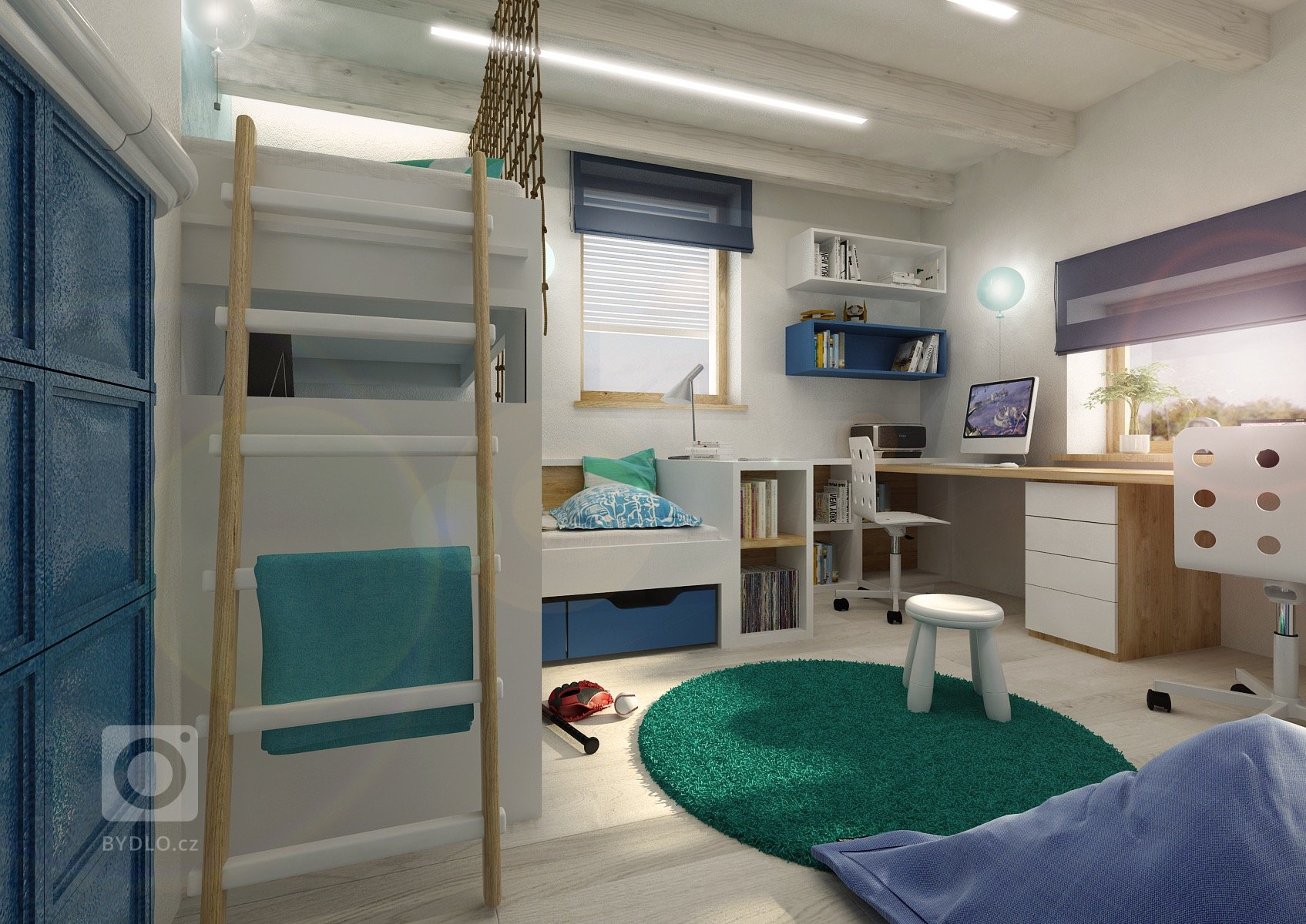 Návrh interiéru nízkoenergetické dřevostavby, kde jsou například stěny upraveny hliněnými omítkami, přiznané stropní smrkové trámy a kvytápění slouží…