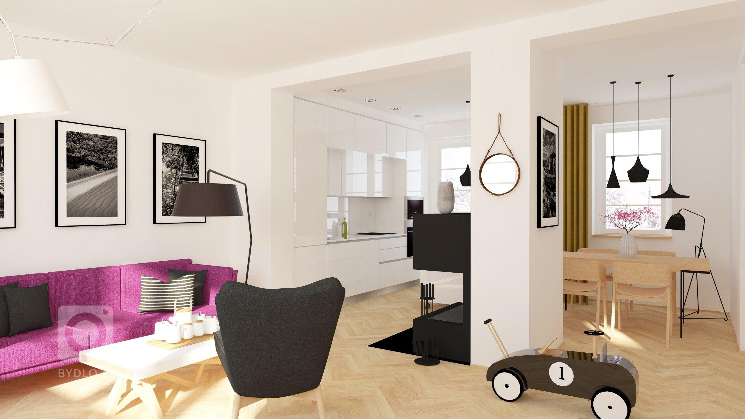 Rekonstrukce řadového rodinného domu - obývací pokoj s kuchyní