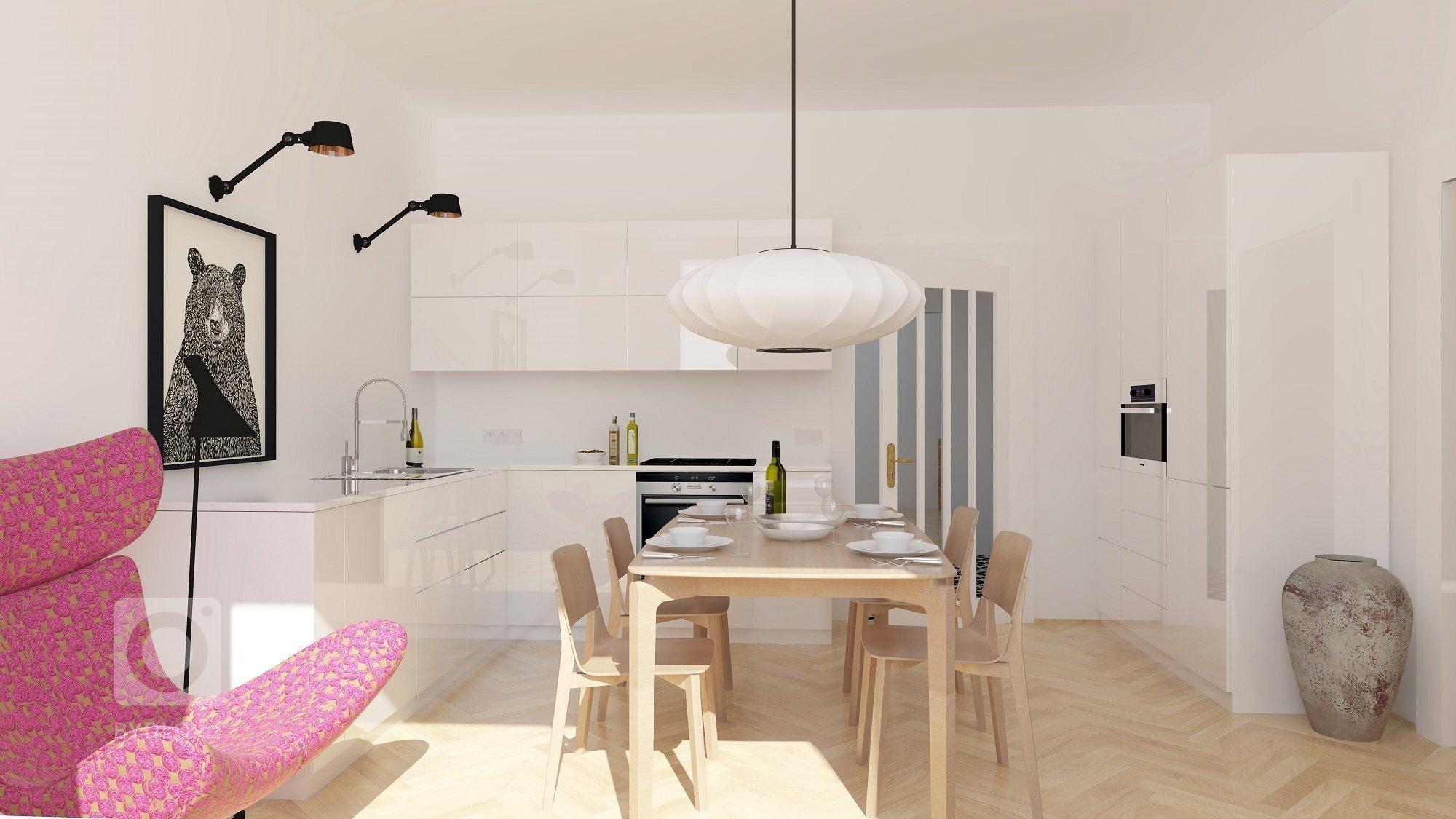 Rekonstrukce bytu na Ořechovce - kuchyně s jídelnou