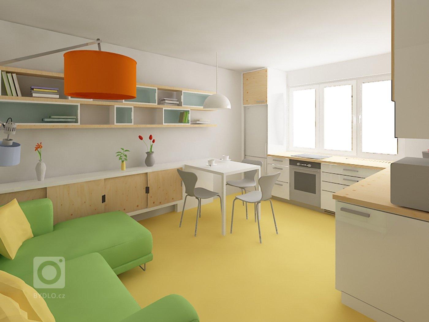 Změna dispozice bytu z 2+1 na 3KK  Koncepce: - zvětšení prostoru předsíně a jeho prosvětlení přes koupelnu - zvětšení koupelny - pracovna/pokoj pro hosty…