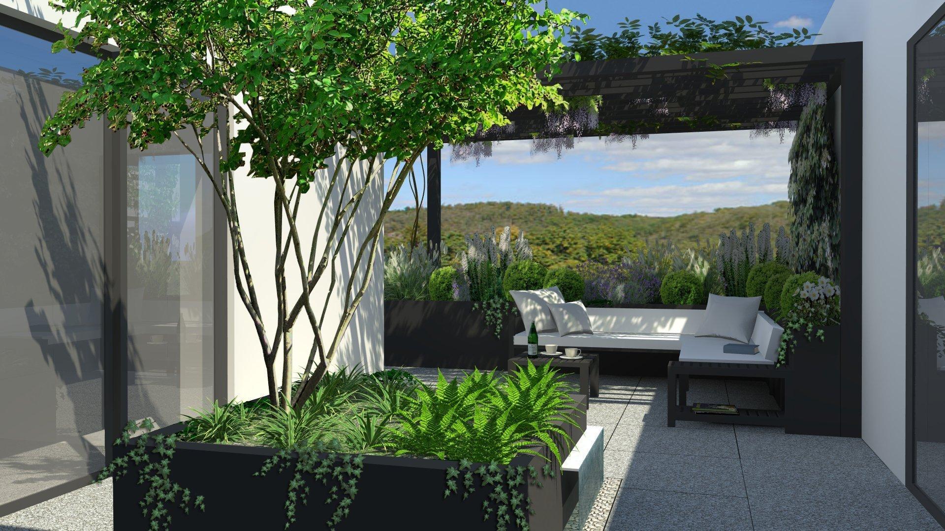 Základní myšlenkou návrhu je pojetí části terasy, která je ze tří stran obklopena bytem, jako átriového prostoru. Vzhledem k exponovanosti části terasy ze tří…