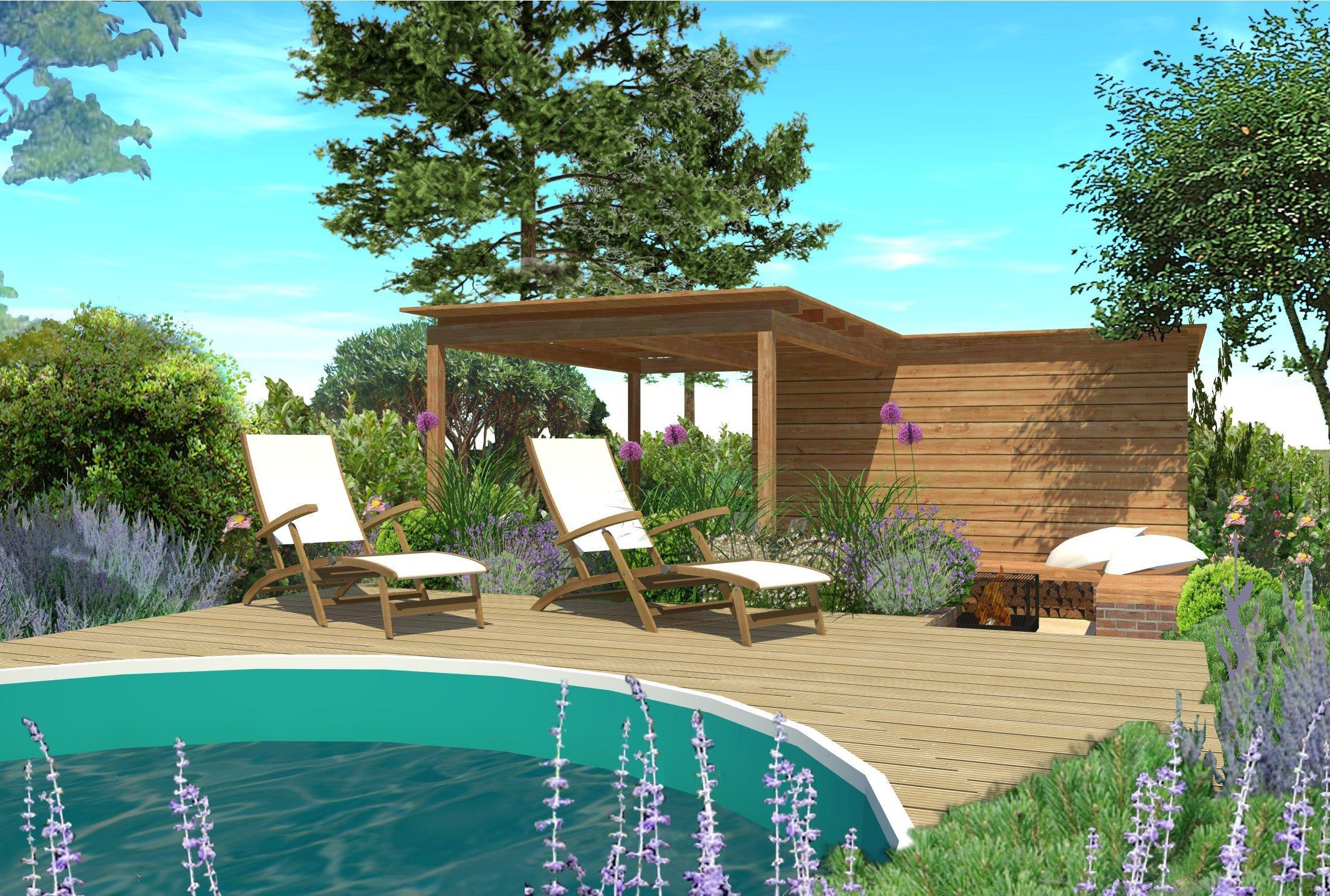 Přední polovina zahrady je pojata jako pobytová částs výraznou okrasnou funkcí. Celá koncepce uspořádání se odvíjí od polohy studny, která je vyvýšena…
