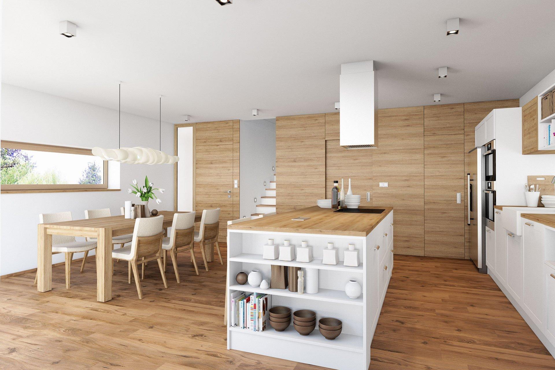 V hlavní roli: dřevo  Návrh interiéru novostavby dvoupodlažního rodinného domu se sedlovou střechou. Vinteriérech se hojně objevuje dřevo, které je…