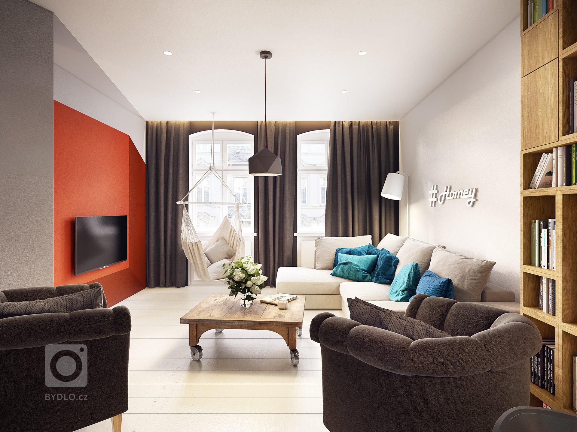 Netradičně řešený a barevně pojatý interiér... veselý, hravý, plný barev a kontrastů