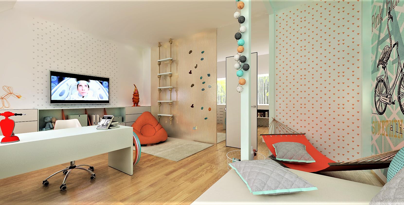 Dětský pokoj je určen pro velmi aktivní školačku. Místnost poskytuje dostatek místa na různé herní a sportovní prvky a díky samostatné šatně není zapotřebí…