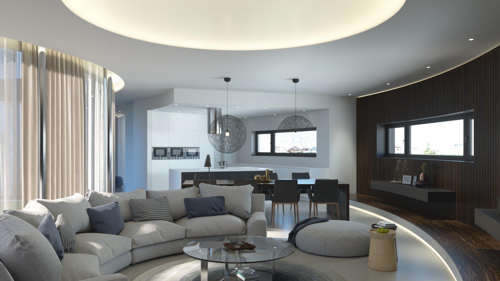 Kuchyň za  obývacím  pokojem