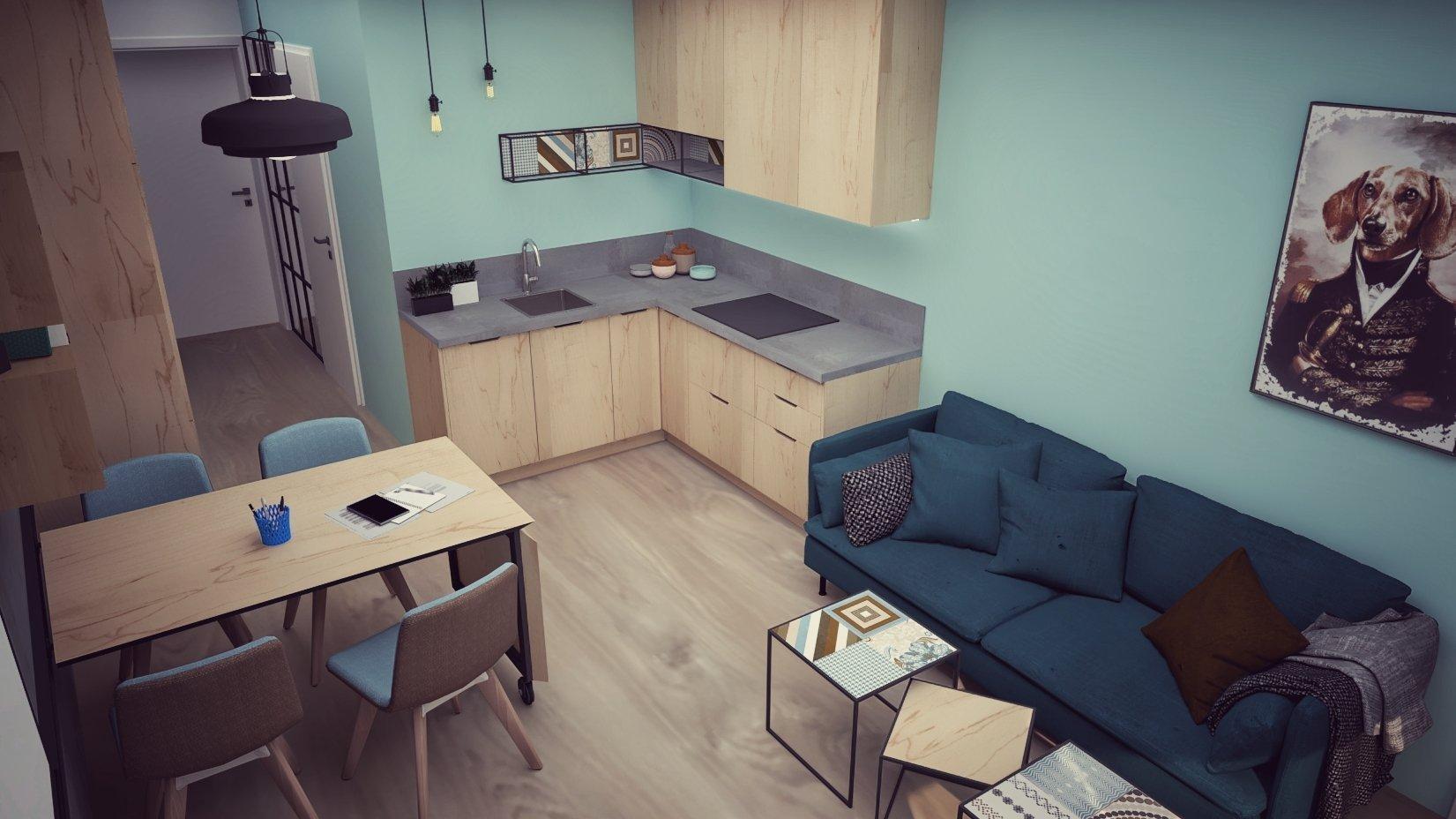 Zariadenie 2 - Izbového bytu v Bratislave v decentne industriálnom štýle.