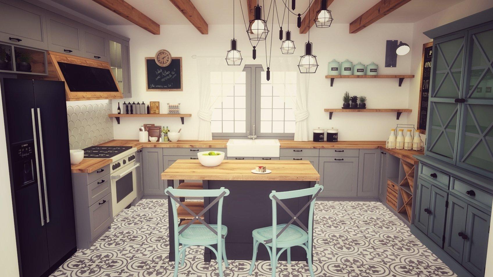 Veľkorysá kuchyňa vo vidieckom štýle.